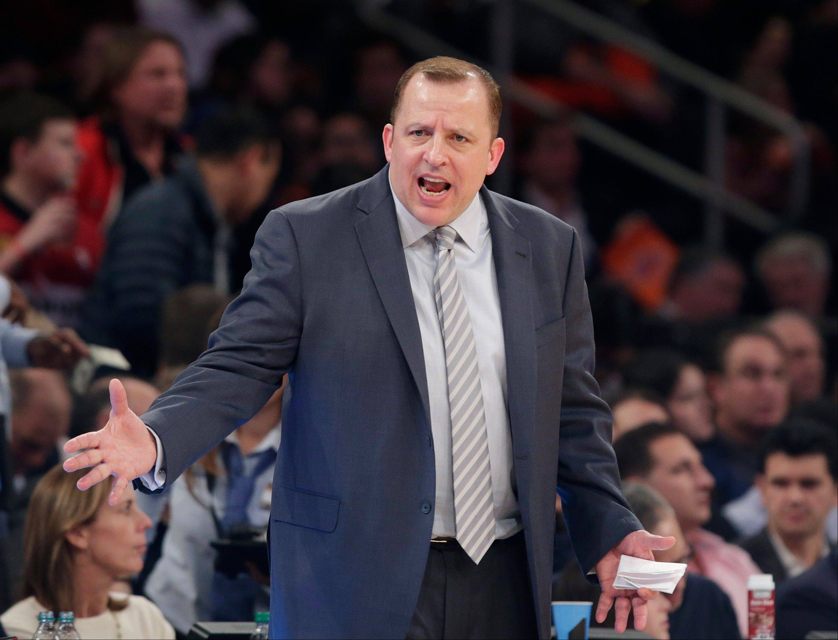 The Bulls' Tom Thibodeau bluntly dismissed speculation that he might consider coaching the New York Knicks in the near future.