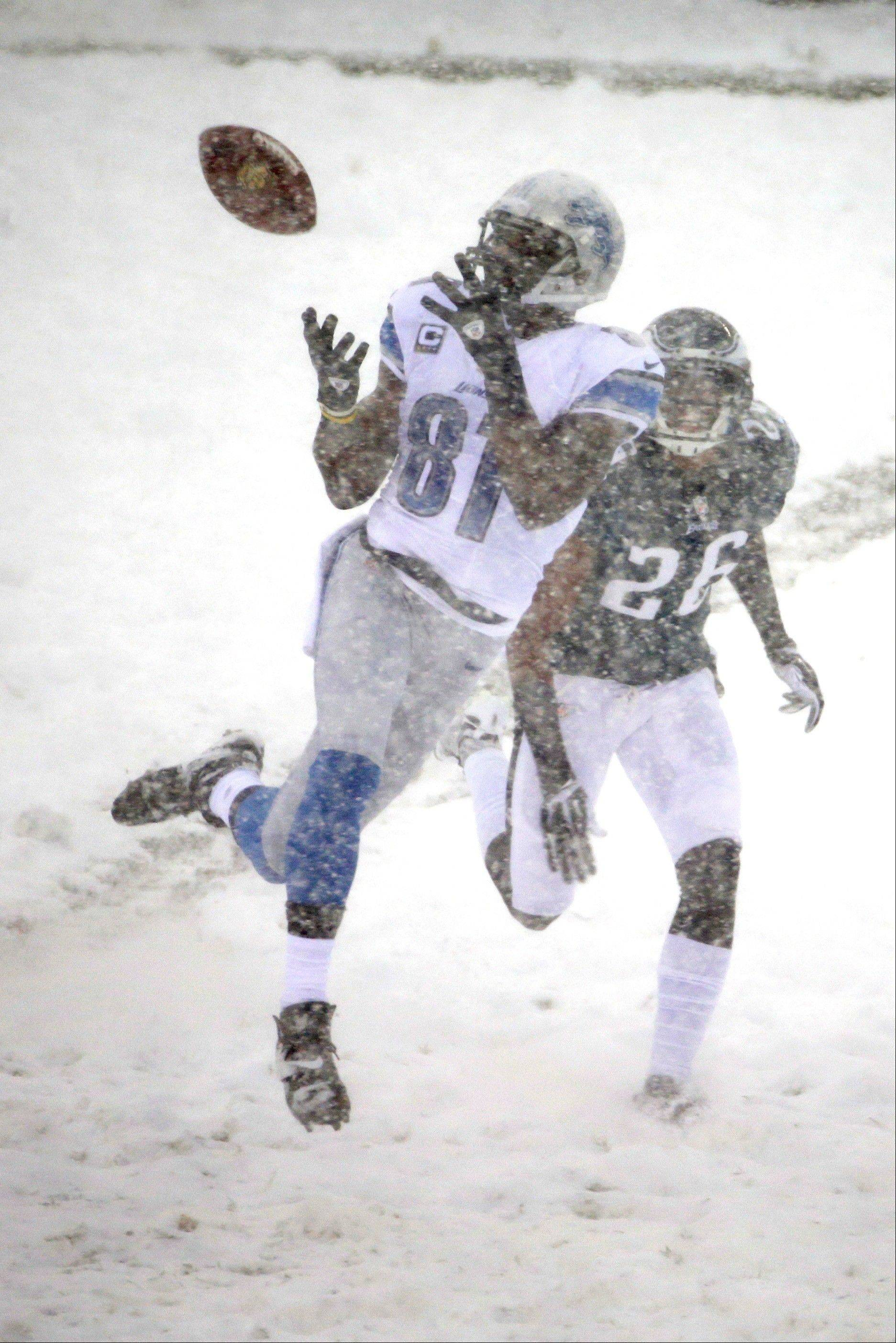 Detroit Lions' Calvin Johnson (81) catches a pass as Philadelphia Eagles' Cary Williams (26) defends during the first half of an NFL football game, Sunday, Dec. 8, 2013, in Philadelphia.