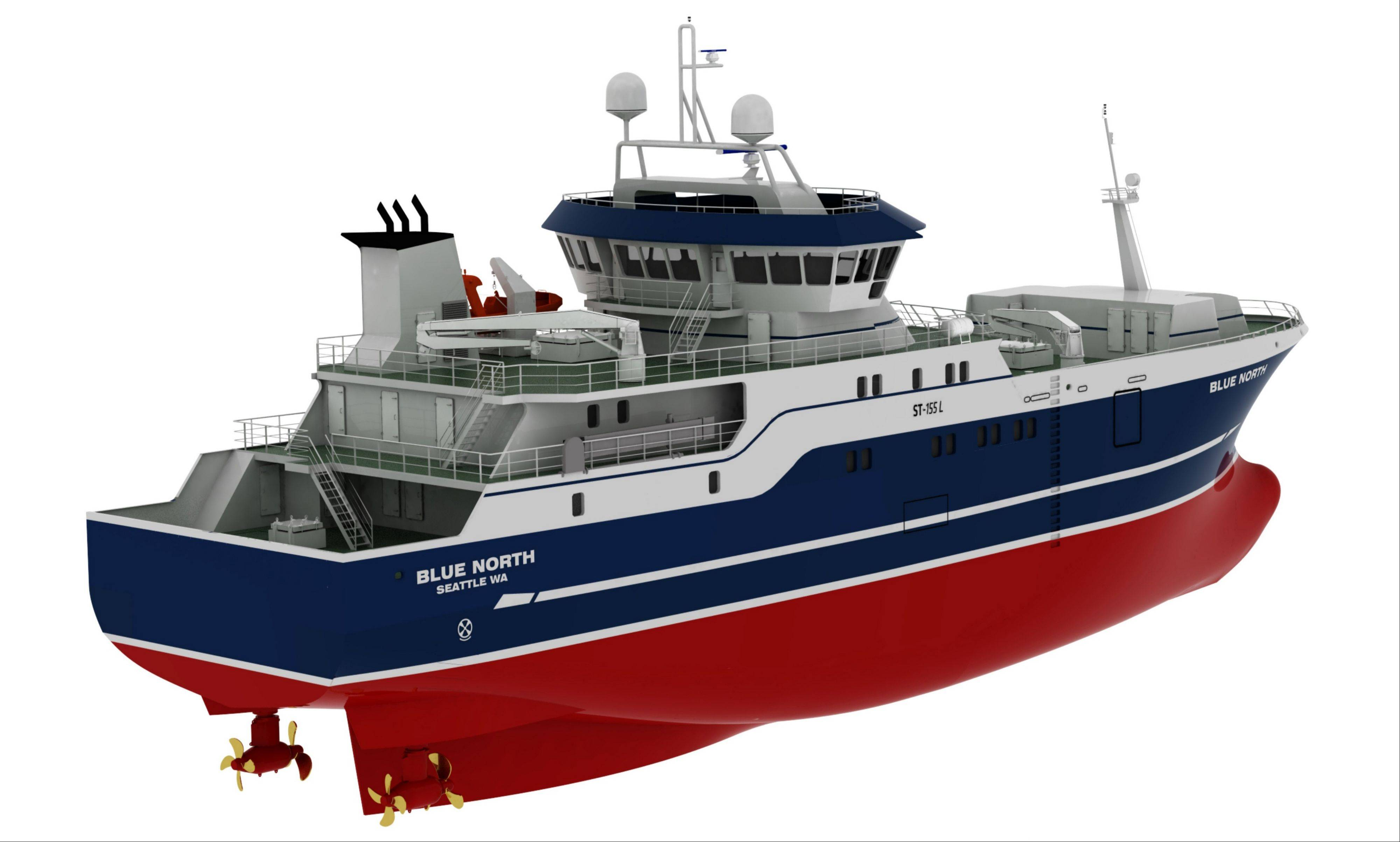 This computer drawing provided by Blue North Fisheries shows the new 191-foot commercial fishing boat design.
