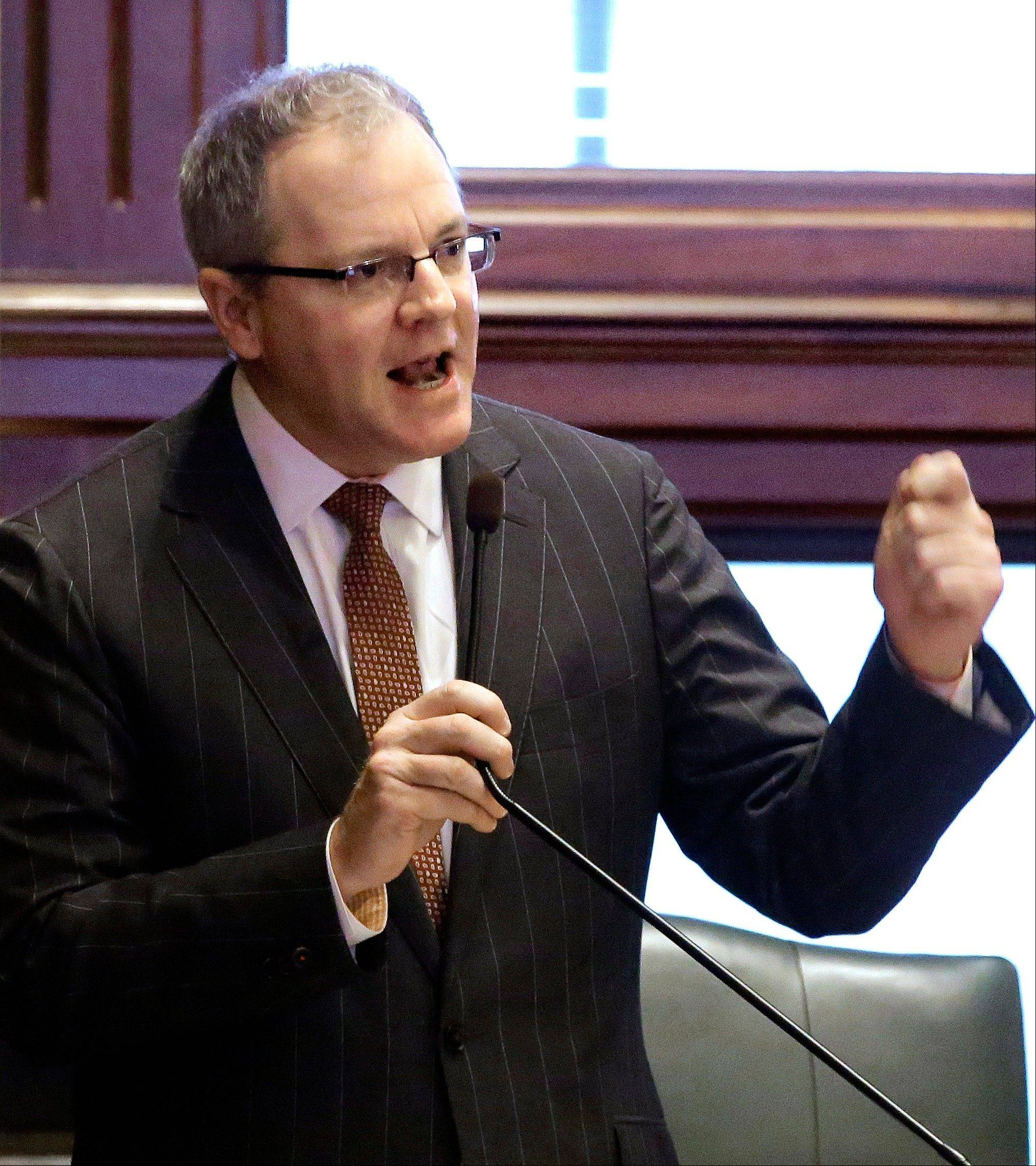 Illinois State Rep. Bill Mitchell, a Decatur Republican, argues legislation while on the House floor during a session this fall in Springfield.