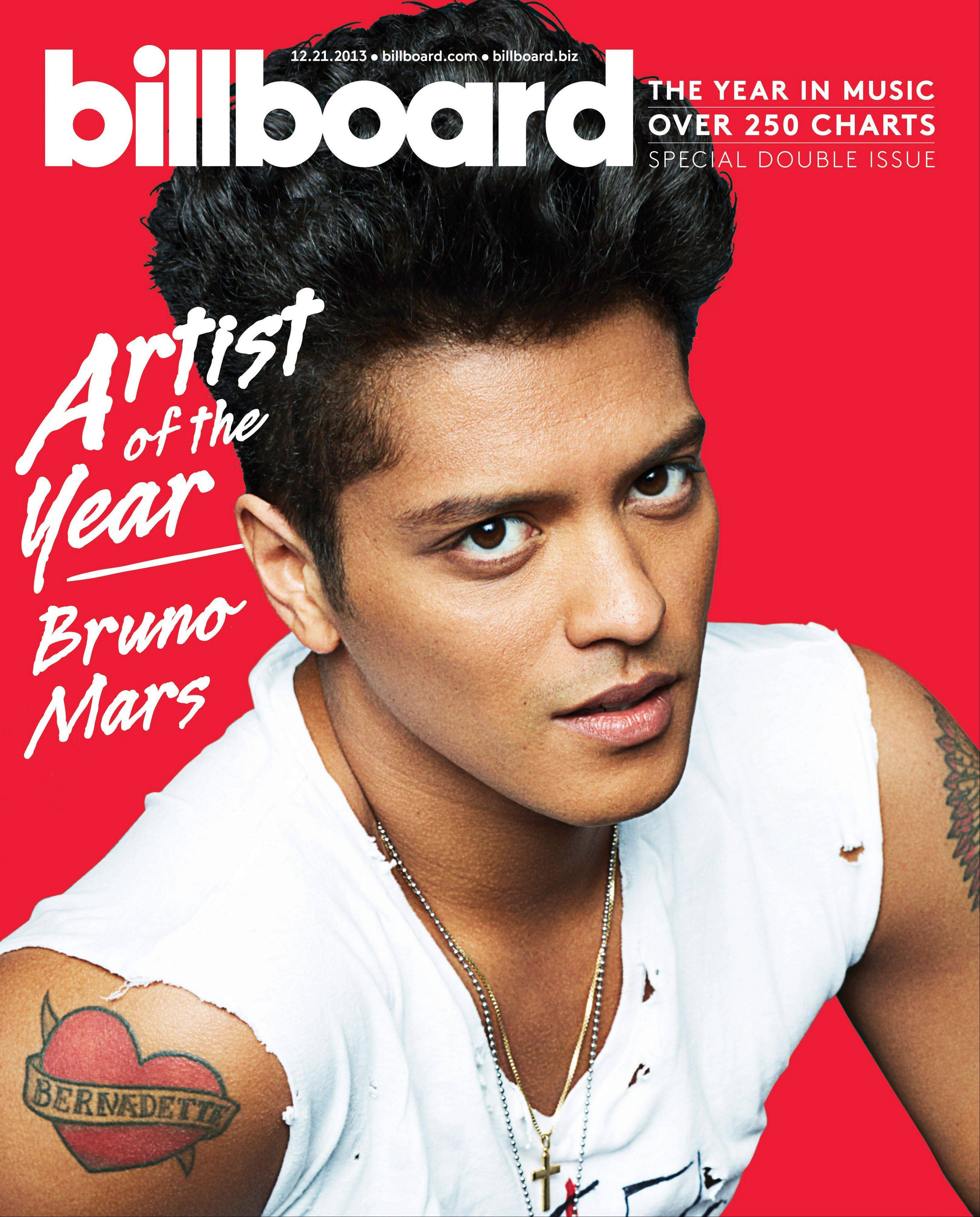 Billboard announced Friday that the Bruno Mars is the year�s top overall artist.