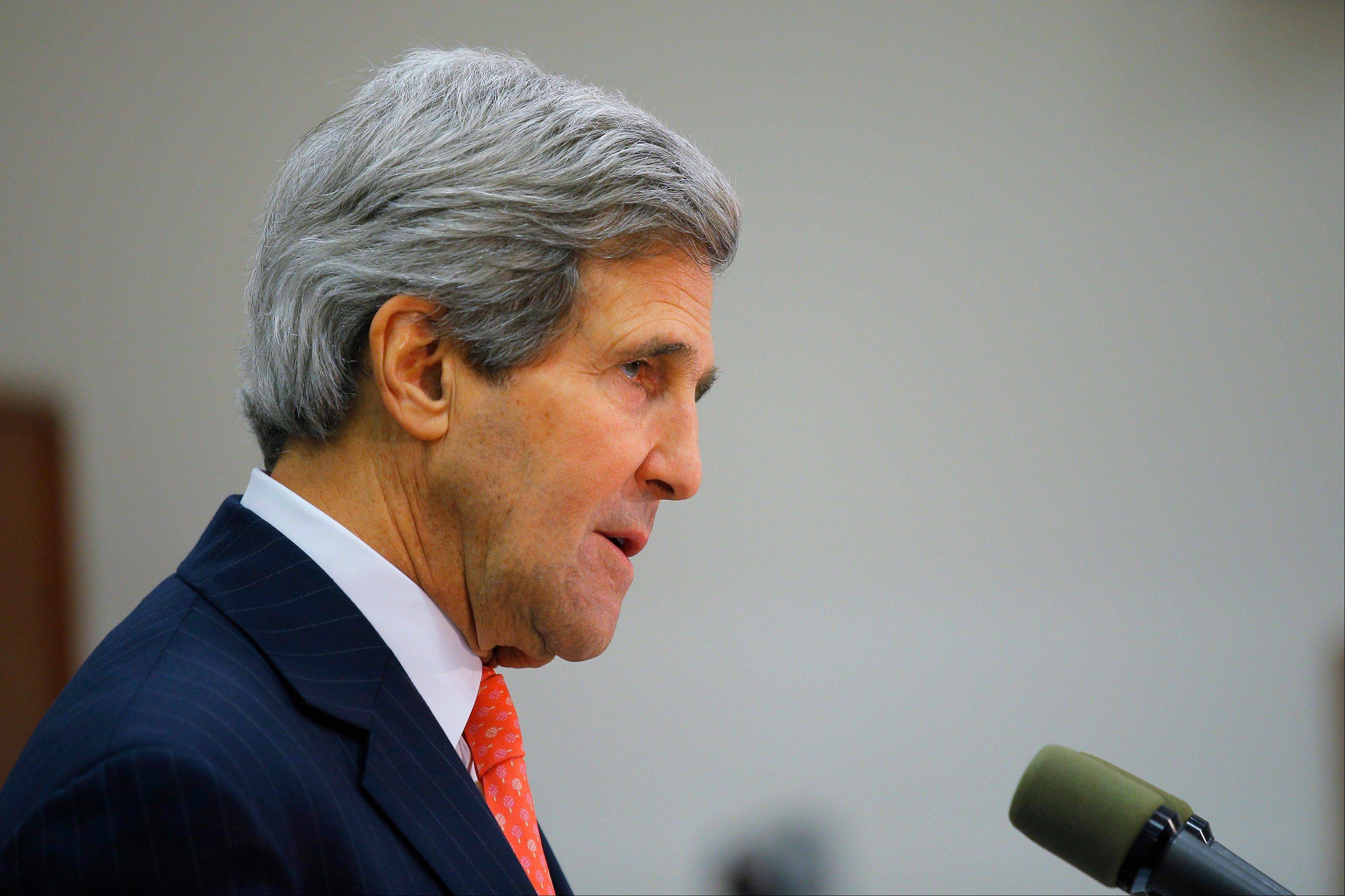 Secretary of State John Kerry says the United States will continue to seek the release of an American citizen missing in Iran. But at a news conference in Tel Aviv, he sidestepped questions about an Associated Press report saying the missing American, Robert Levinson, had been working in Iran for the CIA on an unapproved intelligence-gathering mission when he vanished nearly seven years ago.