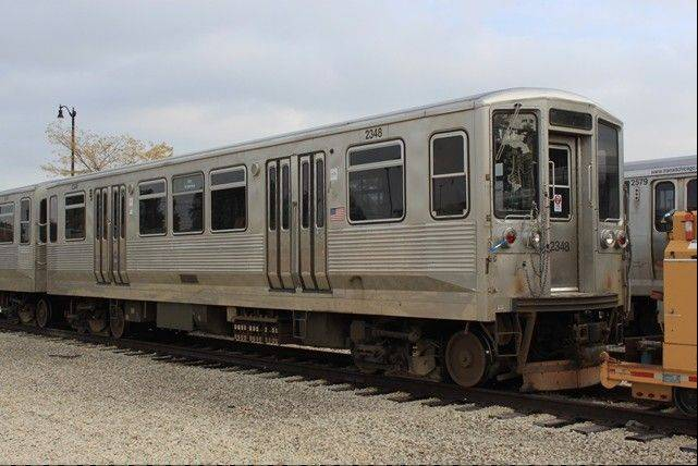 The CTA is holding an online auction to part with 100 relics, ranging from a small section of a third rail to this 2200-series rail car built more than 40 years ago.