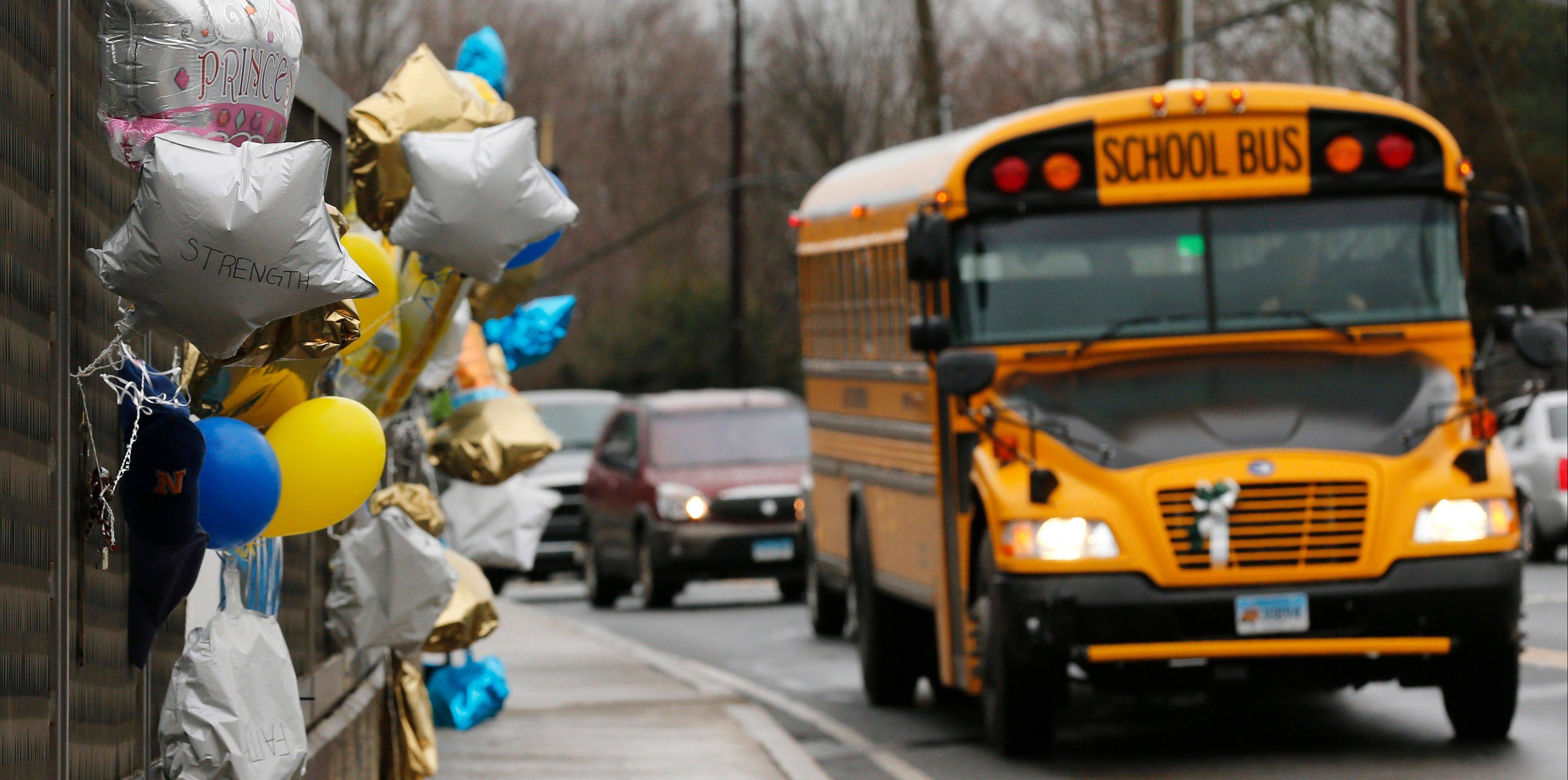 A Dec. 18, 2012, file photo shows a memorial in Newtown, Conn., for victims of the Sandy Hook Elementary School shooting.