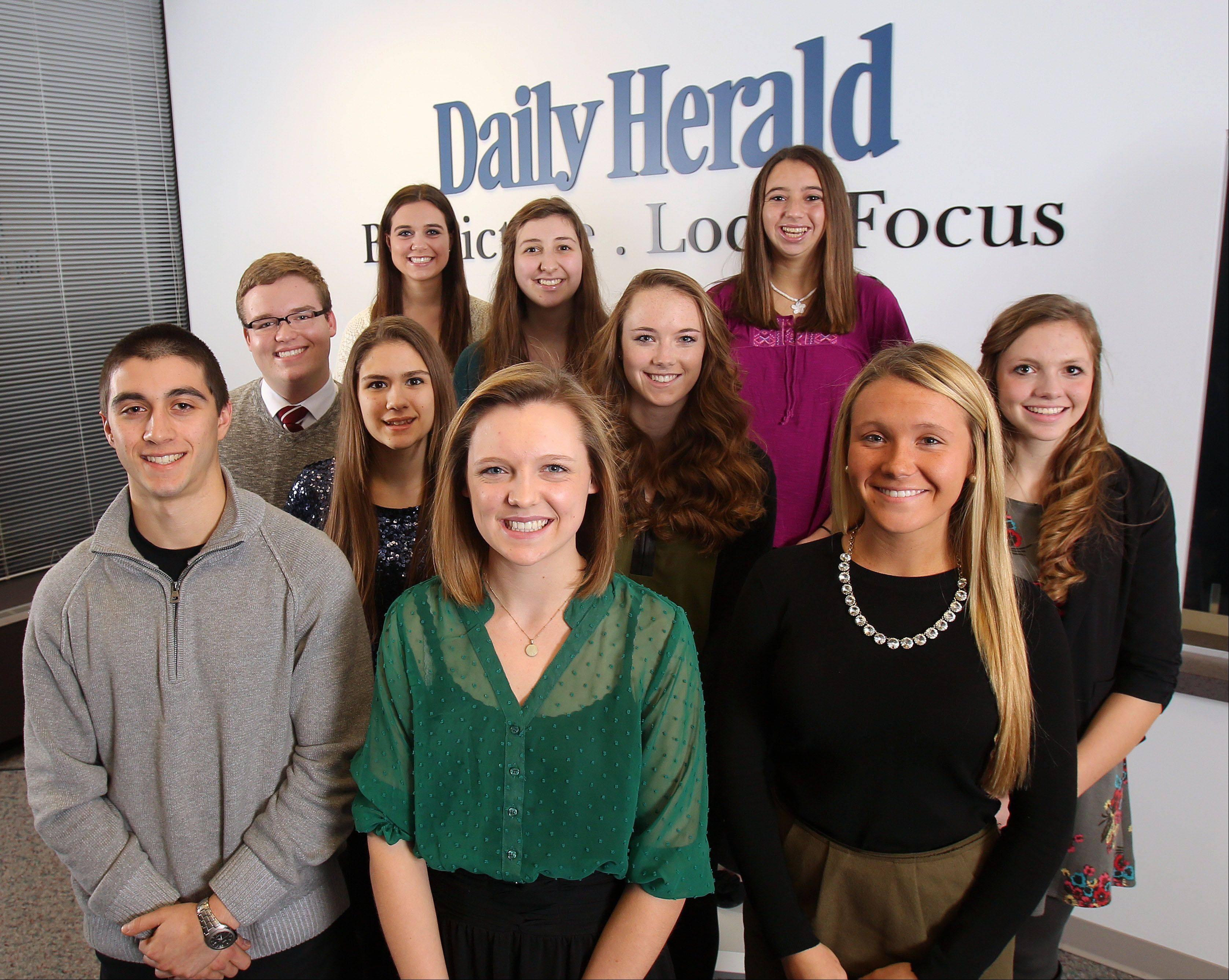 Meet the 2013-14 Lake County Leadership Team. Front row, from left: Sam Panitch, Adlai E. Stevenson High School; Allie Bujak, Libertyville High School and Annie Kotlarz, Woodlands Academy of the Sacred Heart. Middle row: Charlie Suhling, Warren Township High School; Faith Gazdzicki, Round Lake; Emily Prey, Libertyville; Paige Vaughn, Grayslake Central. Back row from left: Annalisa Roncone, Lakes Community High School; Shannon Pedersen, Grant and Rachel Jacoby, Vernon Hills High School.