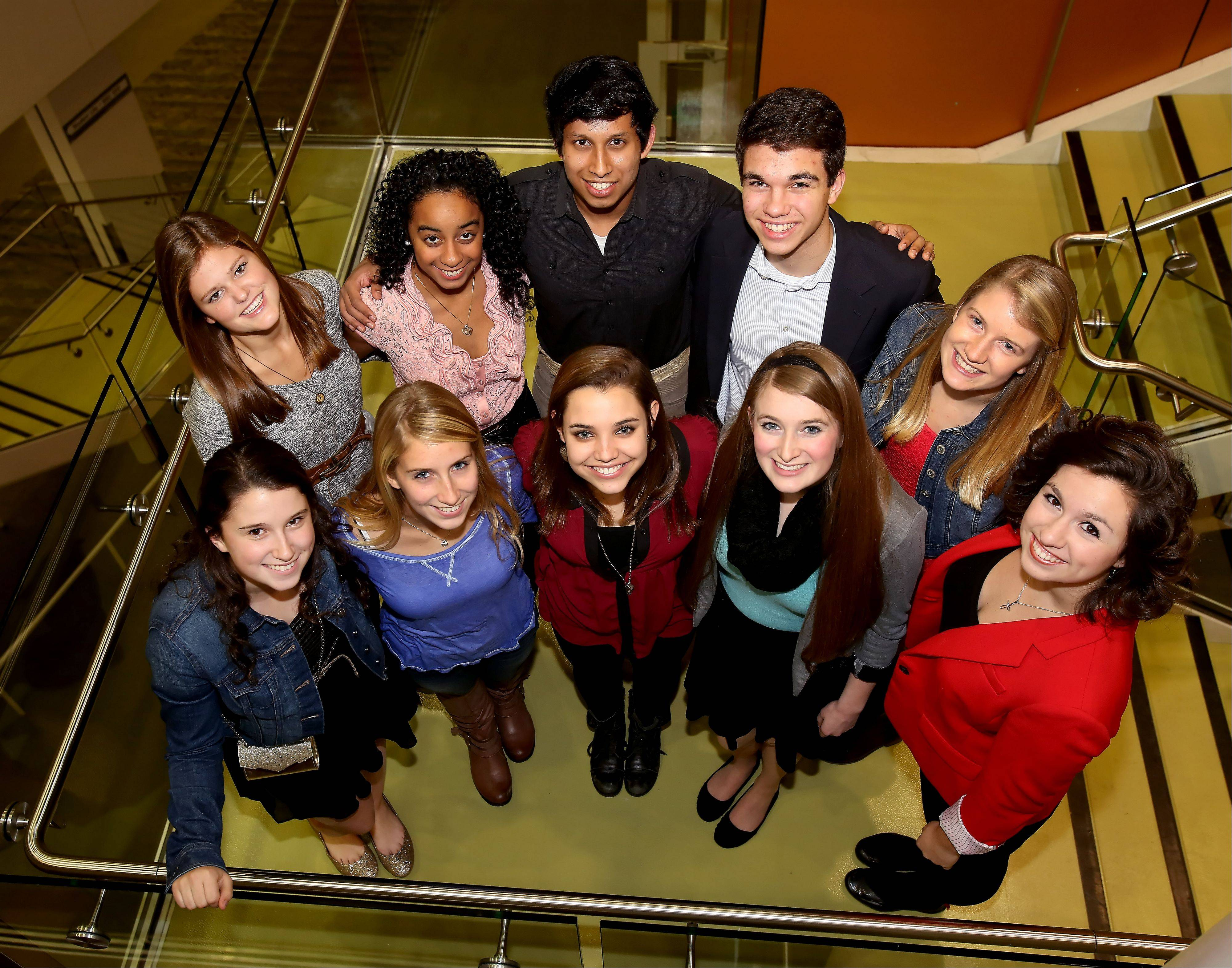 The 10 members of the 2013-14 Daily Herald DuPage County Leadership Team meet at the College of DuPage for a group photo. Back row, from left: Katie Mann, Wheaton Academy; Alissa Whyte, Fenton High School; Silas Ferrao, Naperville Central; Austin Hansen, Naperville North; Maria McDaniel, Naperville North. Front row, from left: Mary Doro, Downers Grove North; Aeriel Euhus, Wheaton North; Meg Maloney, Glenbard West; Sienna Crosby, Glenbard North and Maggie O'Brien, Addison Trail.