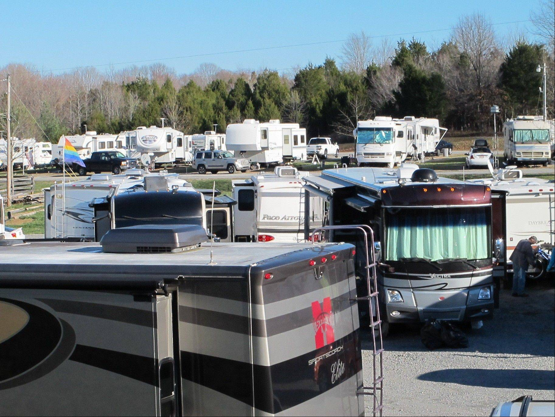 RVs are lined up at the Green River Stables campground near Campbellsville, Ky., which has become a Christmas-season tradition.