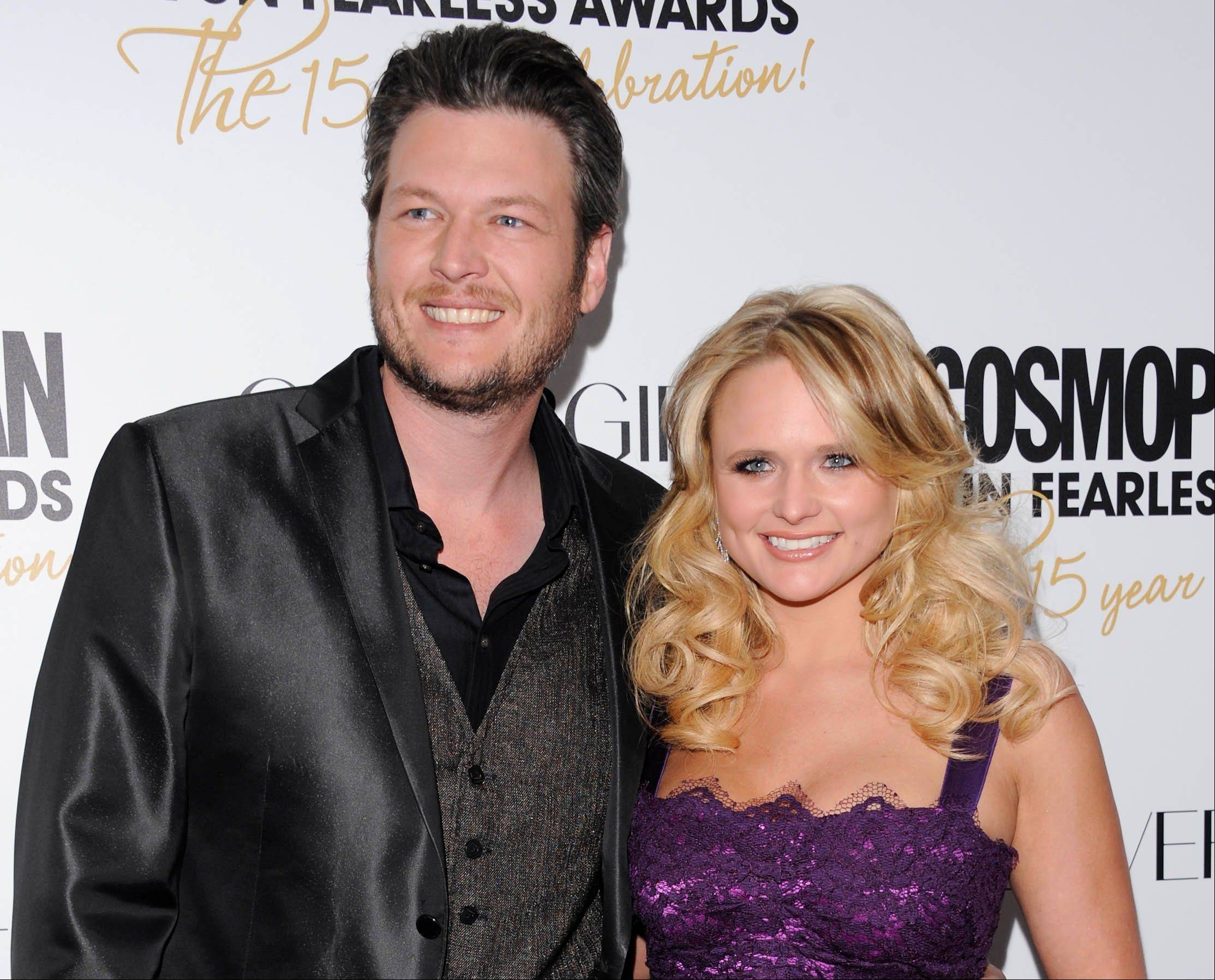 Country singers Blake Shelton and his wife, Miranda Lambert, are both nominated for a Grammy award for best country solo performance.