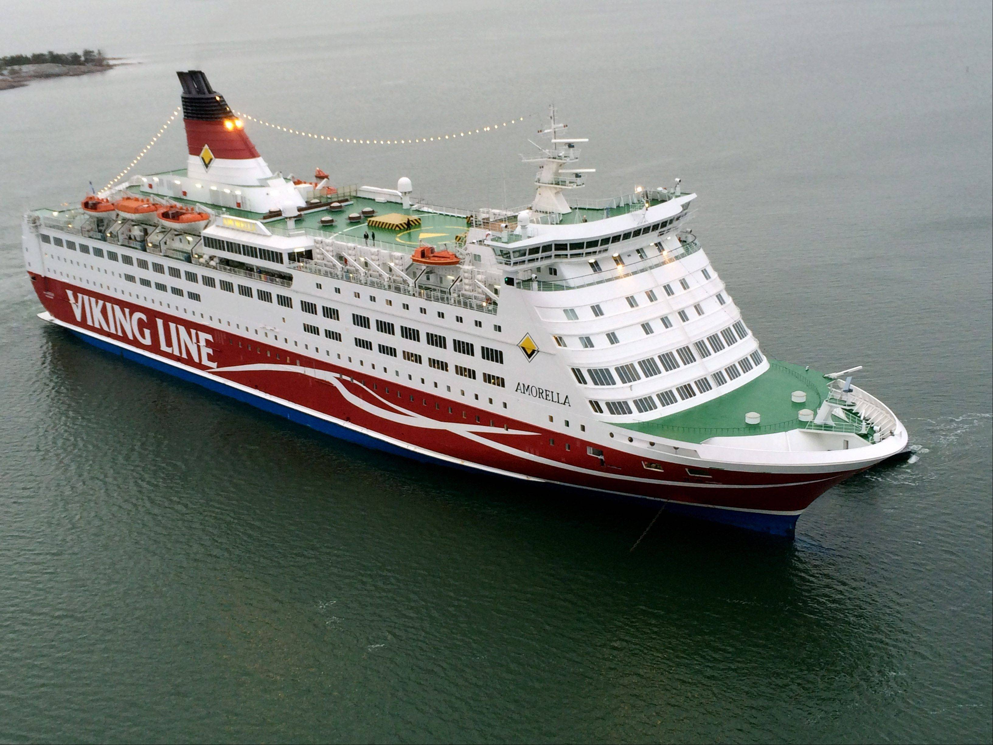 The Viking Line ferry M/S Amorella aground Saturday outside Mariehamn, Finland.