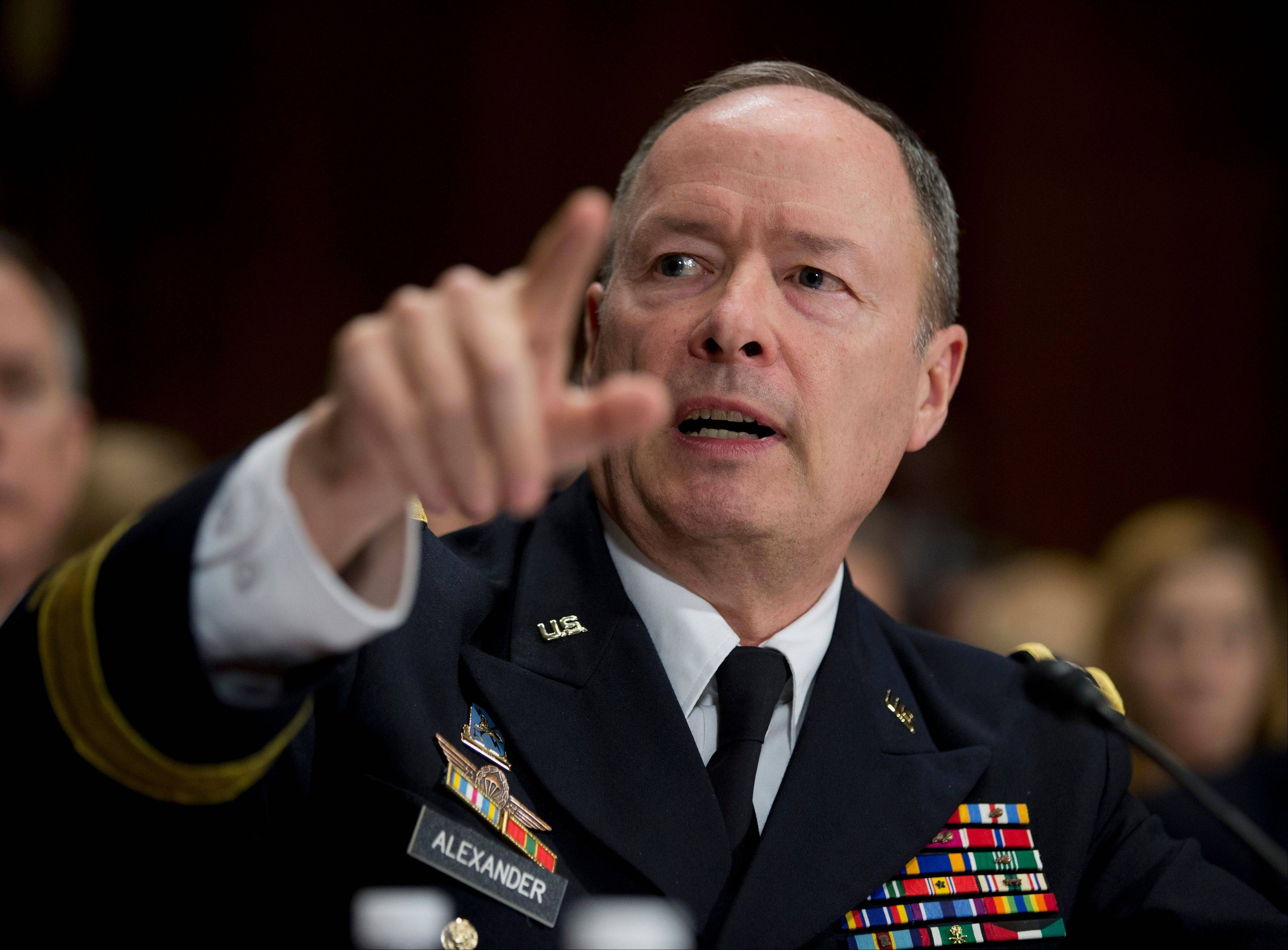 National Security Agency Director Gen. Keith Alexander testifies on Capitol Hill Wednesday in Washington before the Senate Judiciary Committee hearing on �Continued Oversight of U.S. Government Surveillance Authorities.�