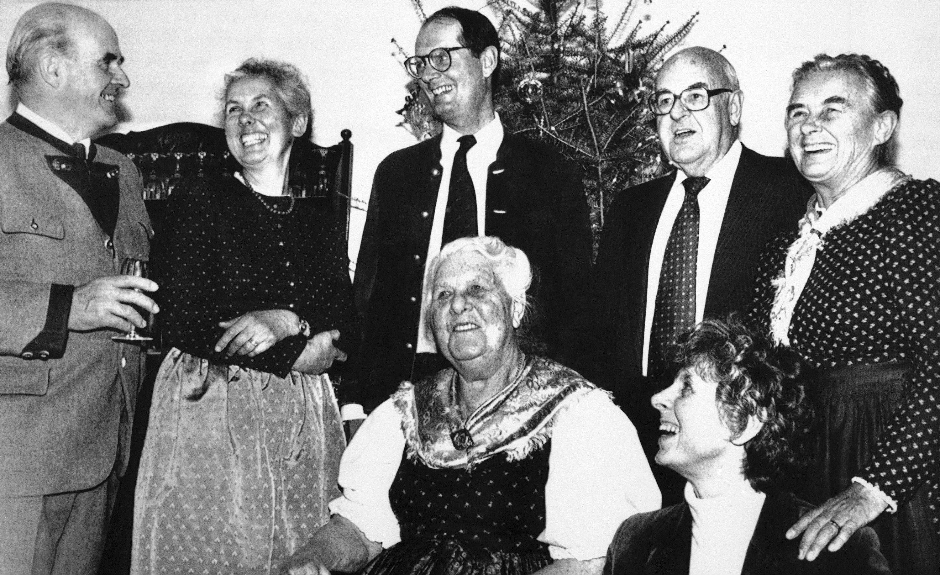 In 1984, the Von Trapp family gathered at the new Trapp Family Lodge in Stowe, Vt., to celebrate the birthday of Maria Von Trapp, center.