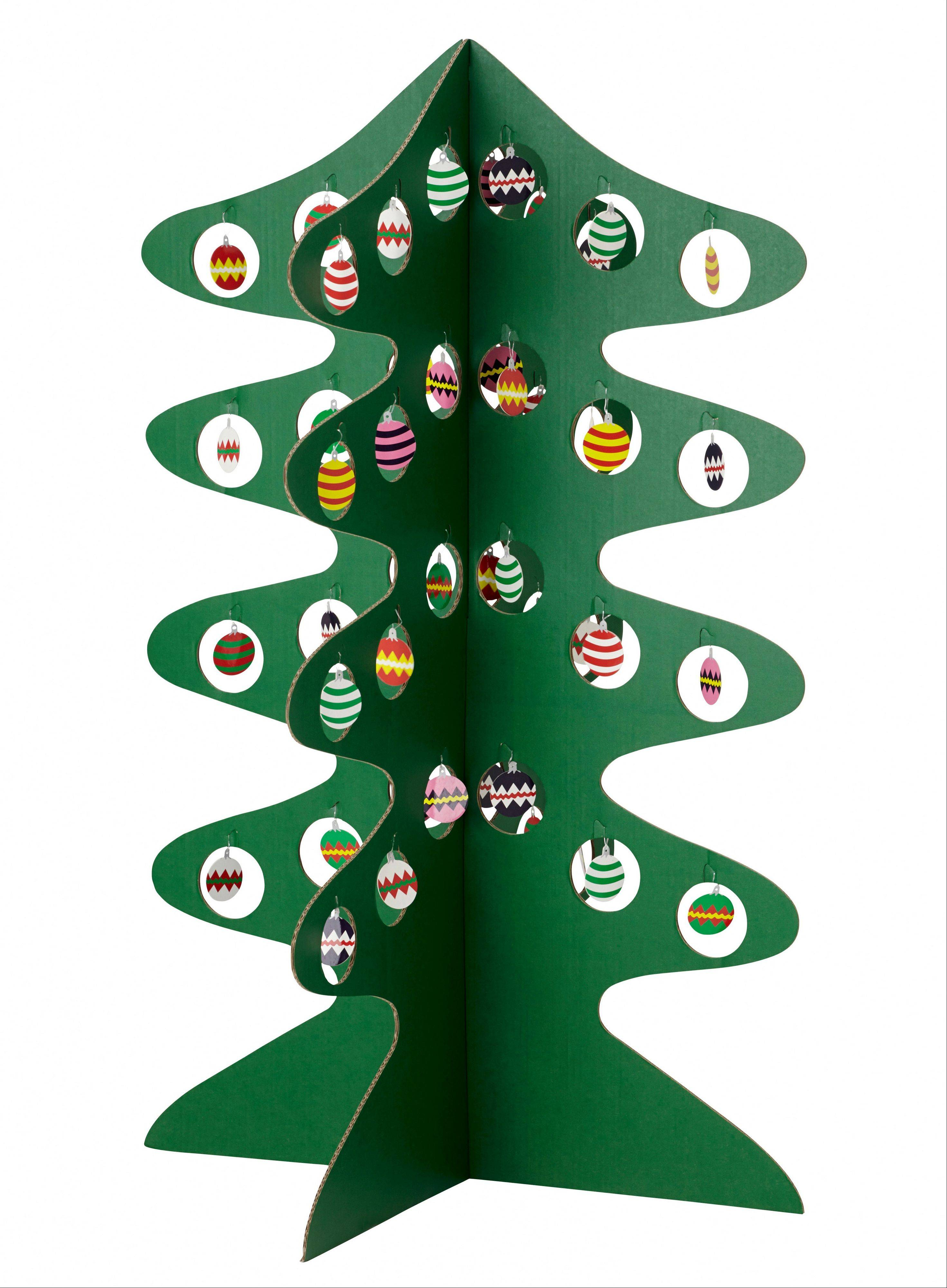 Christmas can be amply represented with a clever fold out cardboard tree, complete with ornaments. This tree may appeal to apartment dwellers and those with tree allergies.