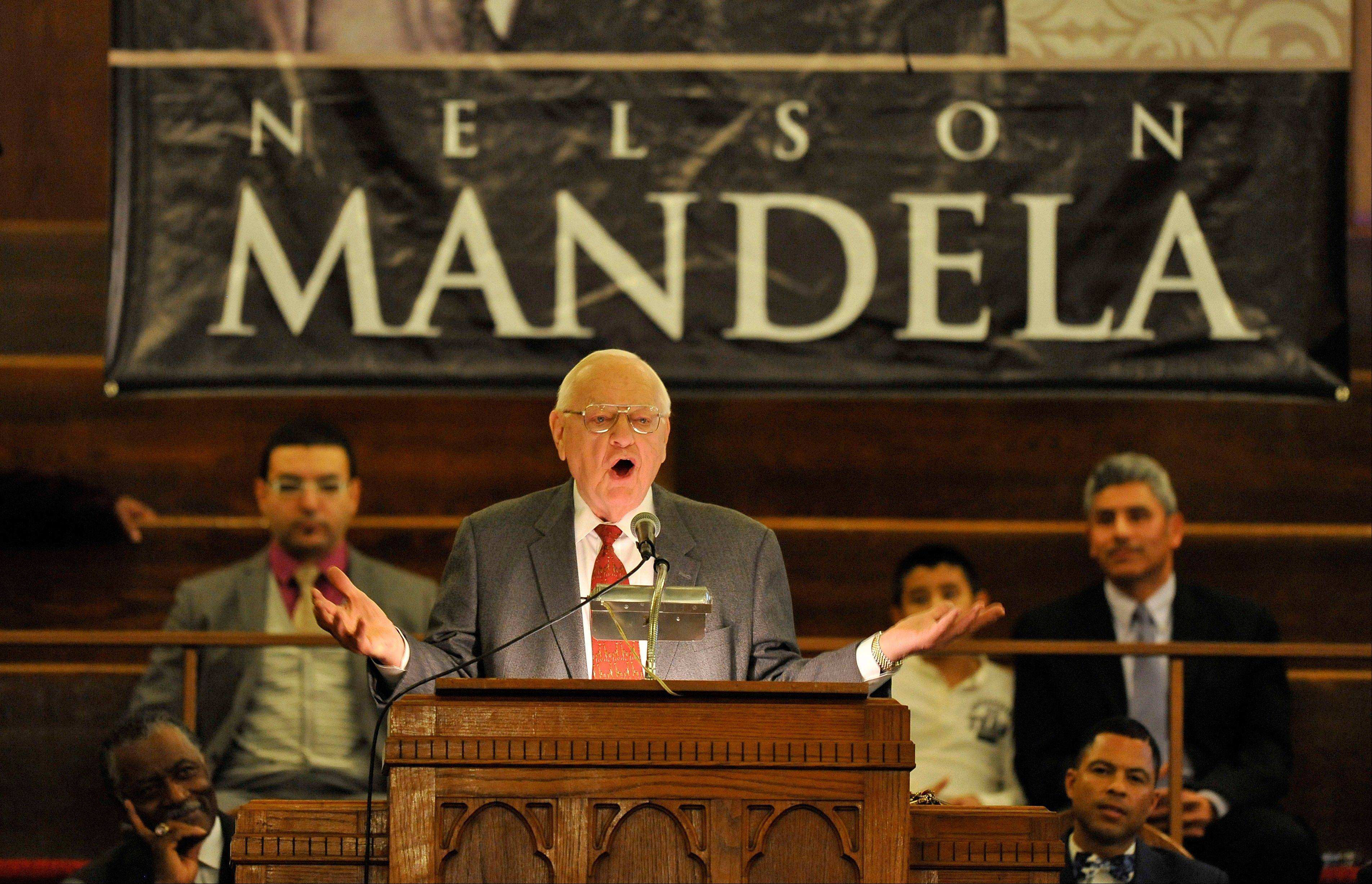 Former Illinois Gov. George Ryan speaks during a memorial service for Nelson Mandela at the Beloved Community Christian Church of God in Christ on Sunday in Chicago.