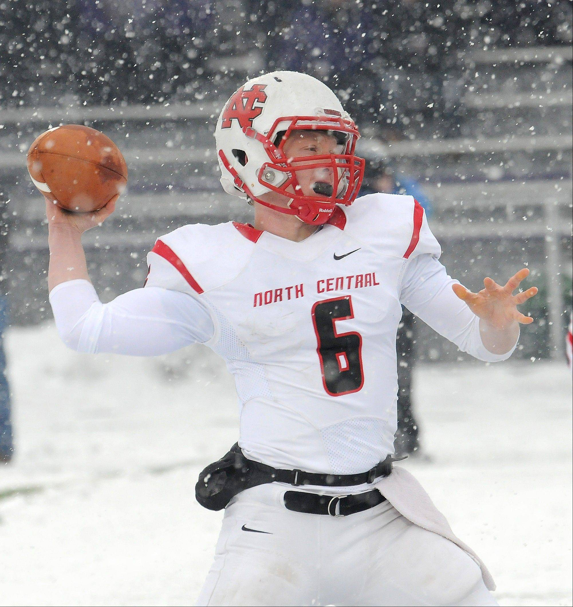 North Central quarterback Spencer Stanek throws to a receiver against Mount Union Saturday in Ohio. Mount Union won 41-40.