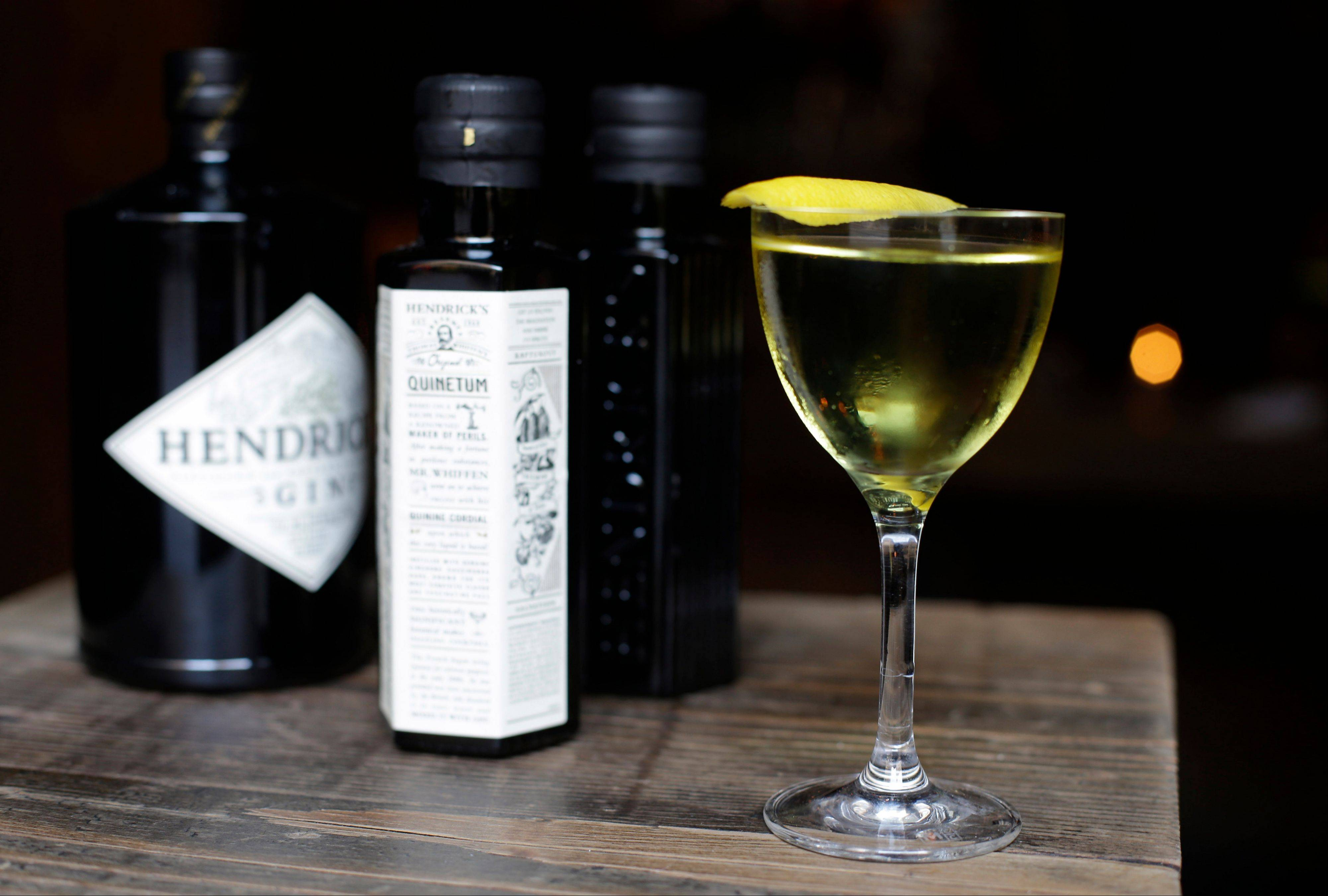 This photo taken Wednesday, Oct. 30, 2013 shows a drink called the Quinundrum, made with Quinetum, a new quinine cordial by Hendrick's Gin, at the Rickhouse bar in San Francisco. The drink also contains Lillet Blanc and Suze. Quinetum is sold exclusively to a few bars around the country.