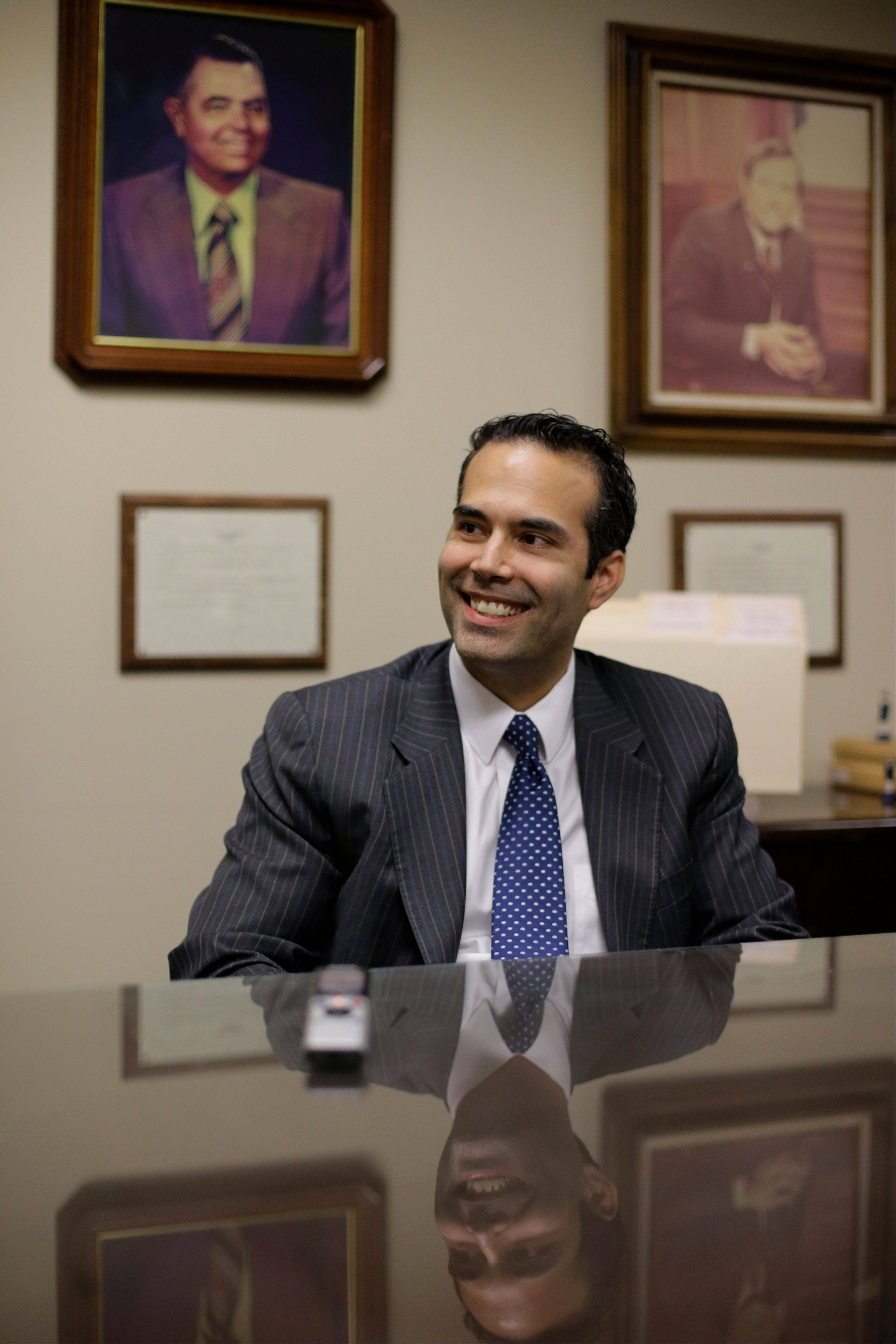 George P. Bush, the grandson of one former president and nephew of another, visits the Republican Party of Texas headquarters where he formally filed to run for Texas land commissioner, in Austin, Texas.