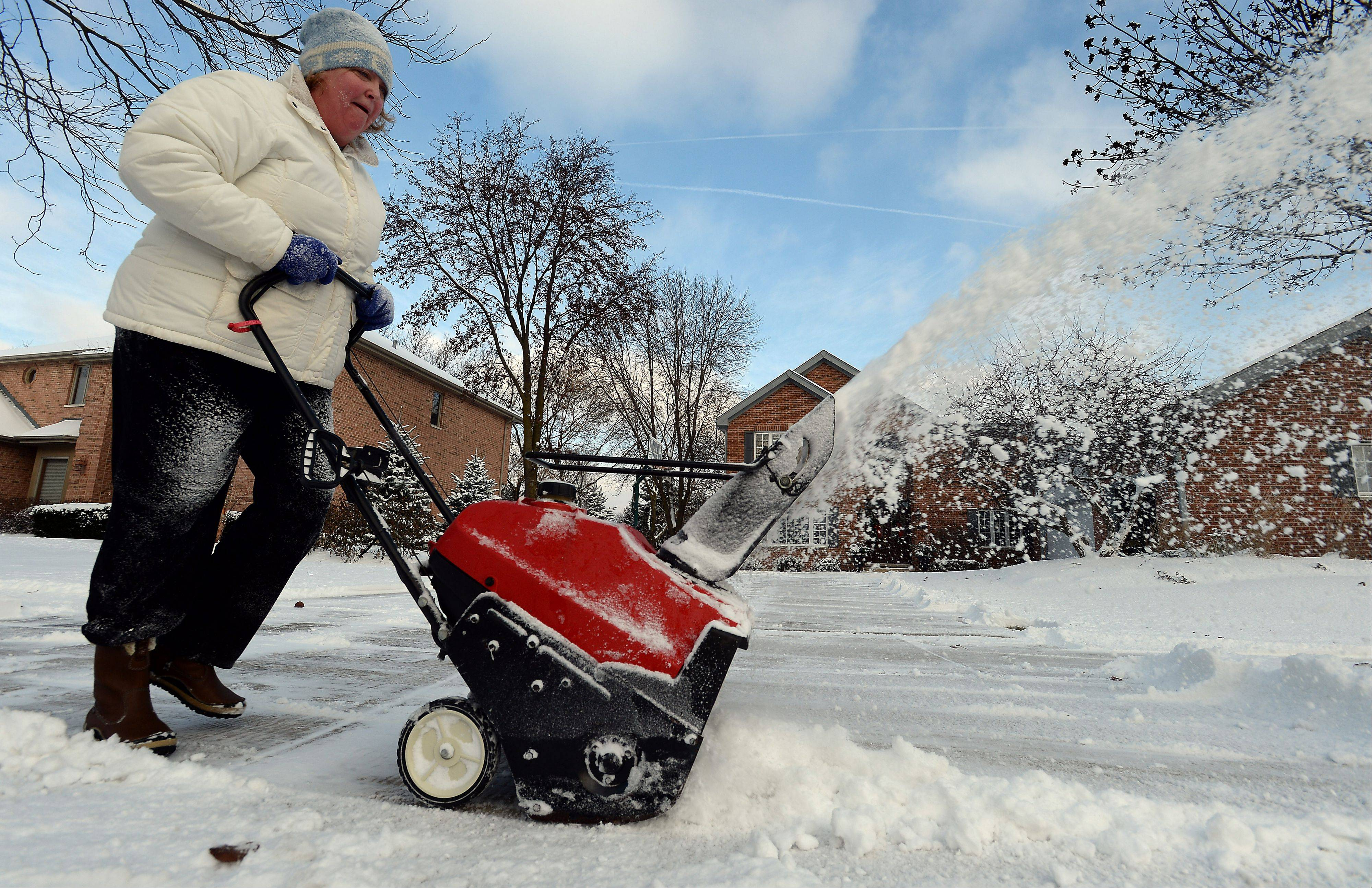 "Noel Angerame of Arlington Heights said the snow fall was ""just beautiful"" and she was glad that she didn't have to shovel the 1-5 inches that hit the Northwest suburbs on Sunday."