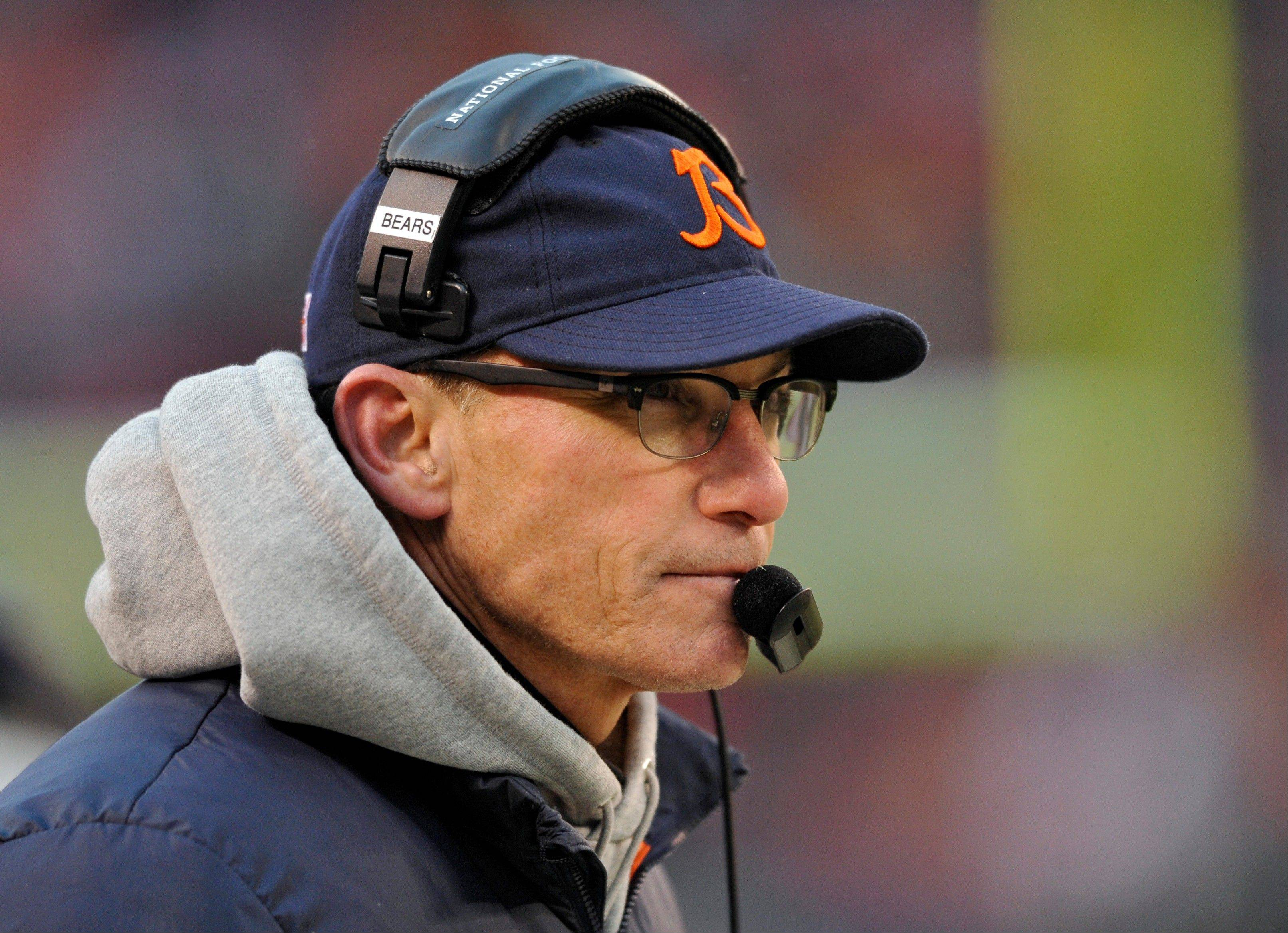 Chicago Bears head coach Marc Trestman watches from the sidelines in the fourth quarter.