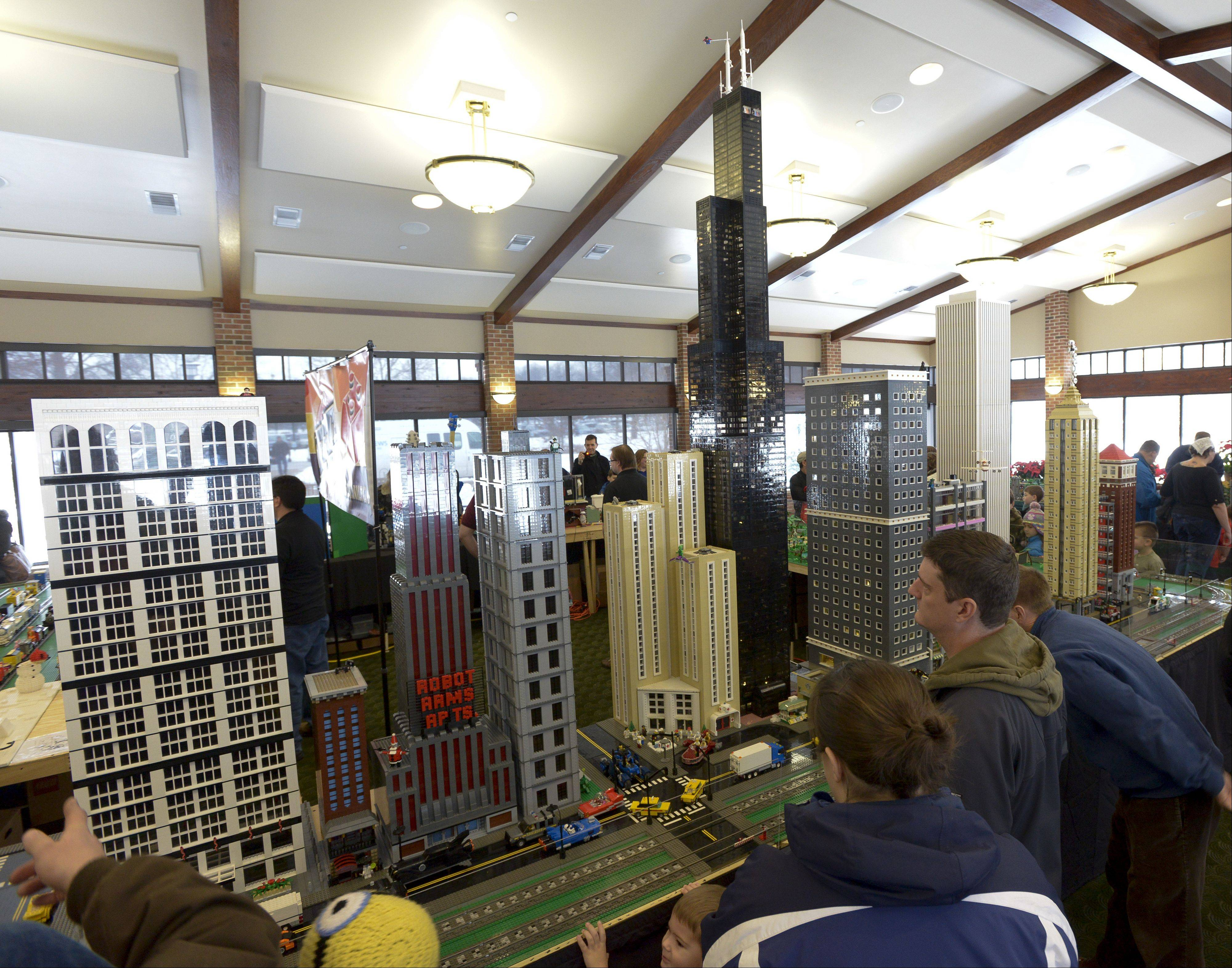 A Lego cityscape featuring the Willis Tower was on display Sunday during the Northern Illinois Lego Train Club's 12th annual Lego Train Show and Party on Sunday at Wheaton's Cantigny Park.