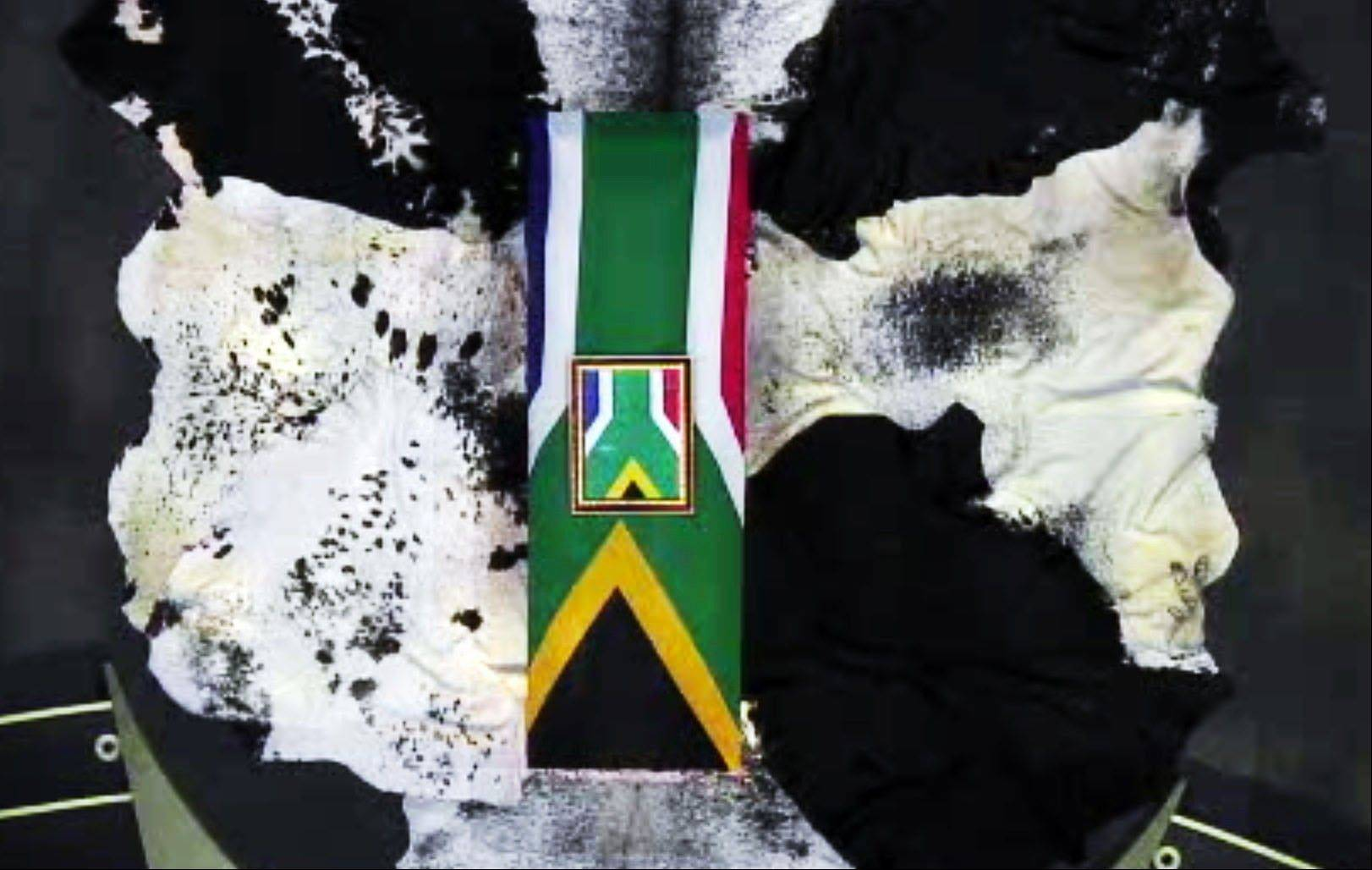 This frame grab from SABC shows an overhead shot of former South African President Nelson Mandela's casket during his funeral service Sunday, Dec. 15, 2013, in Qunu, South Africa.