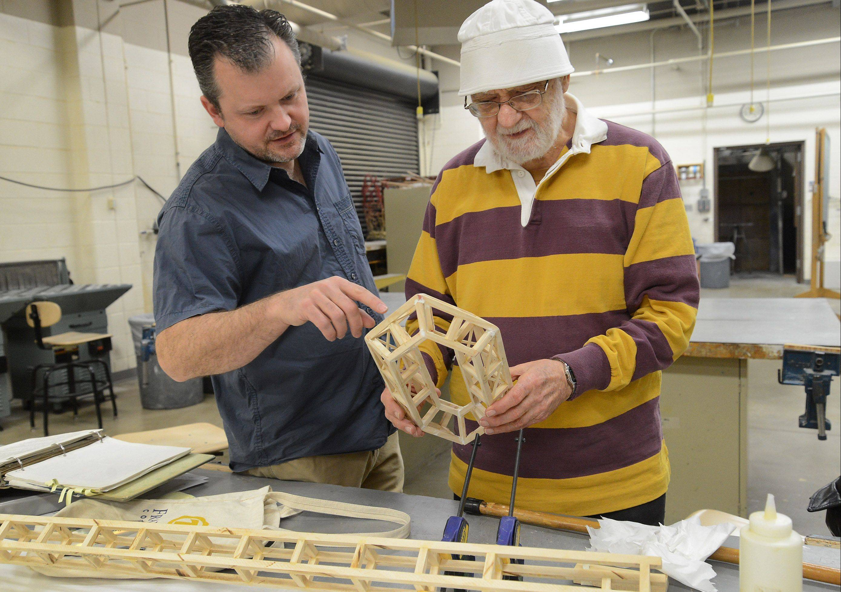 Nobody has taken more Harper College art classes than Bernie Bluestein, right. Art professor Jason Peot, left, has taught at Harper for 16 years, and Bluestein, 90, has taken every one of his classes.
