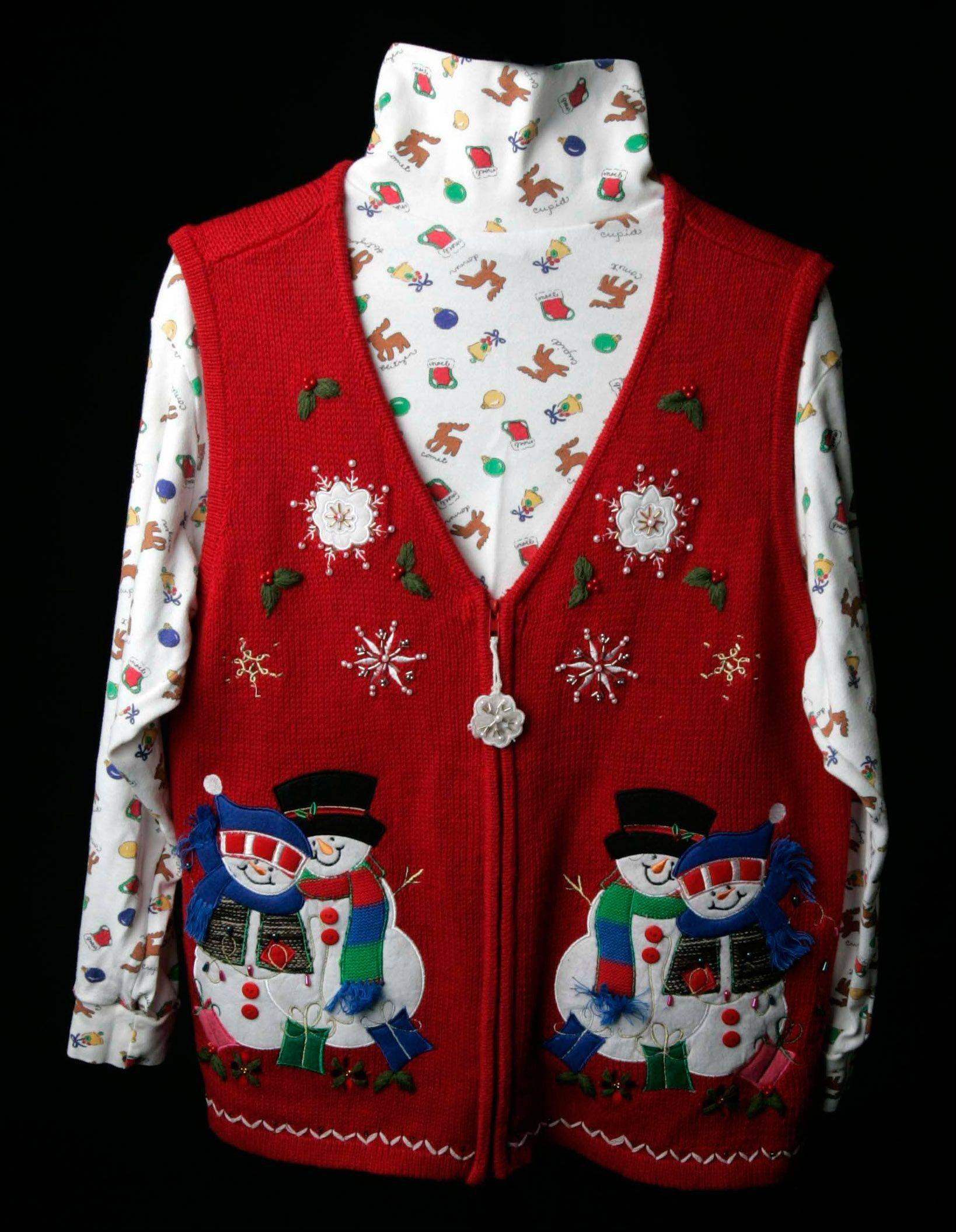 That tacky holiday sweater can save you money. Shoppers who come in wearing one this Sunday, Dec. 22, at Chico's in Geneva Commons will receive a discount.