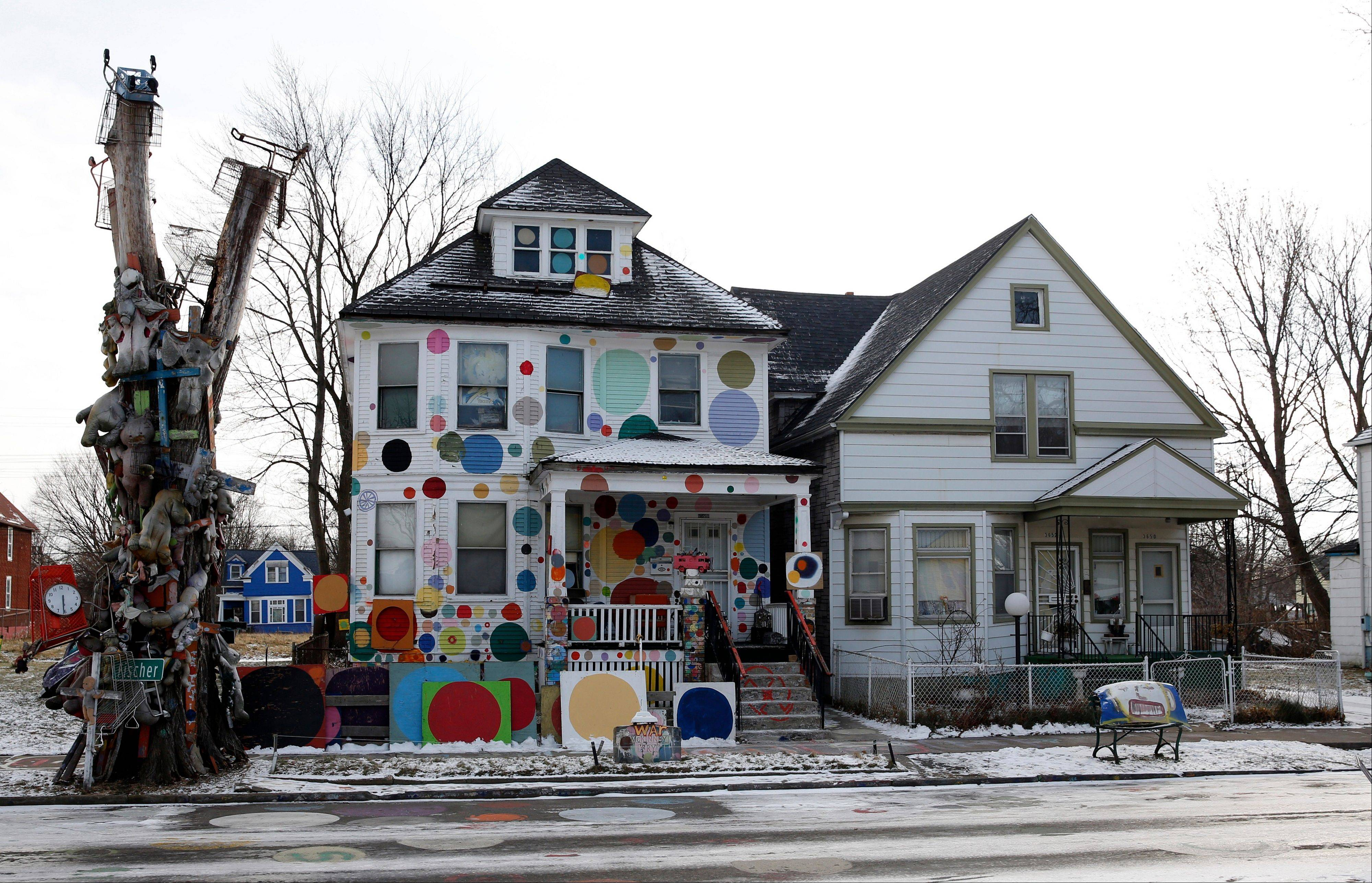 "The ""Polka Dot House,"" created by Heidelberg Project outdoor art installation founder Tyree Guyton, still stands in Detroit. Eight arson fires since May have destroyed five vacant homes that served as decorative anchors of the Heidelberg Project."