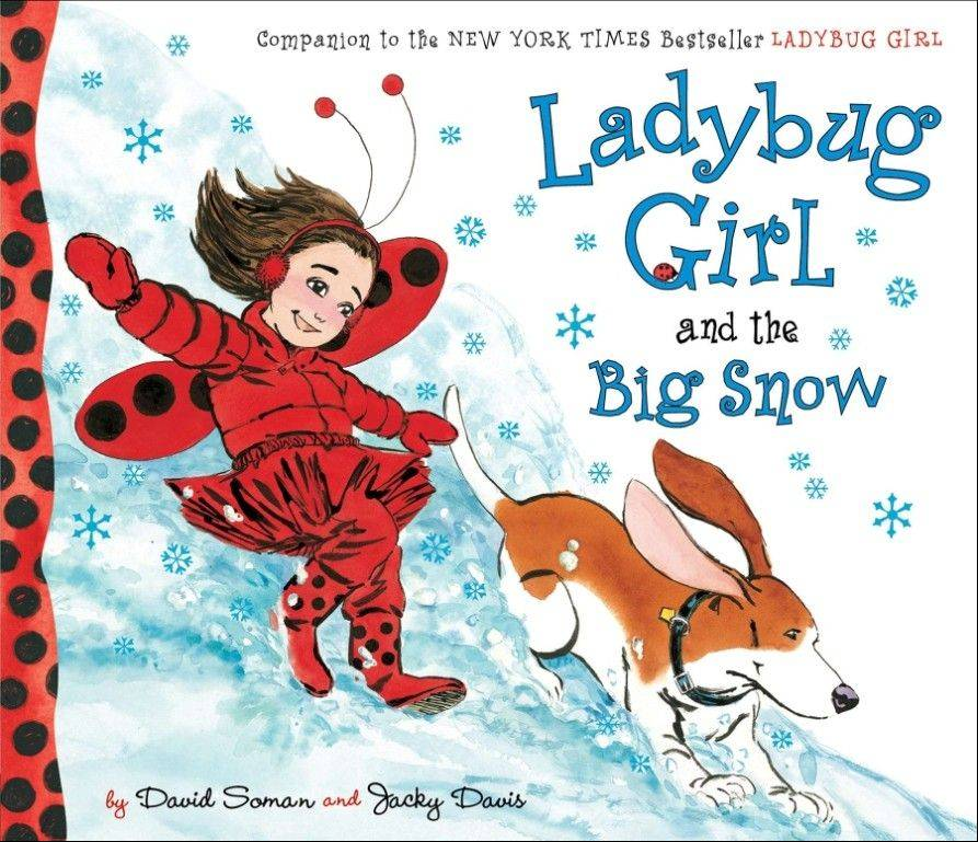 "In ""Ladybug Girl and the Big Snow"" by David Soman and Jacky Davis, Lulu and her brother create lots of snow animals."