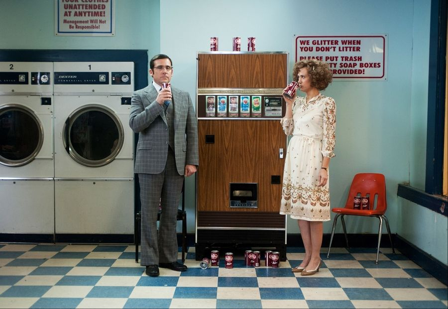 "Steve Carell returns as Brick Tamland and Kristen Wiig joins the cast as Chani Lastname in ""Anchorman 2: The Legend Continues."""
