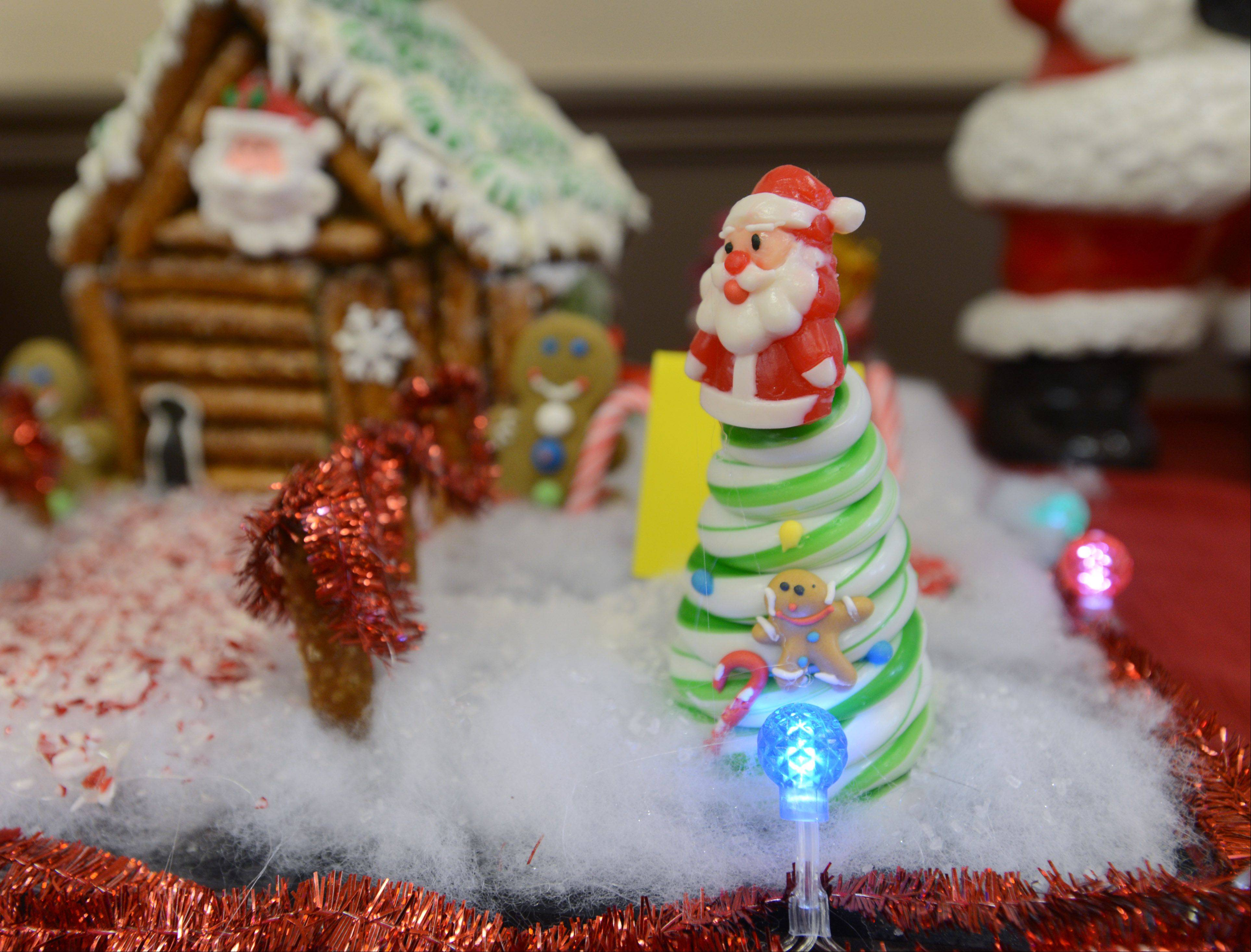 Lights are part of this entry in the 7th annual Fox Lake Area Chamber of Commerce & Industry gingerbread house contest.