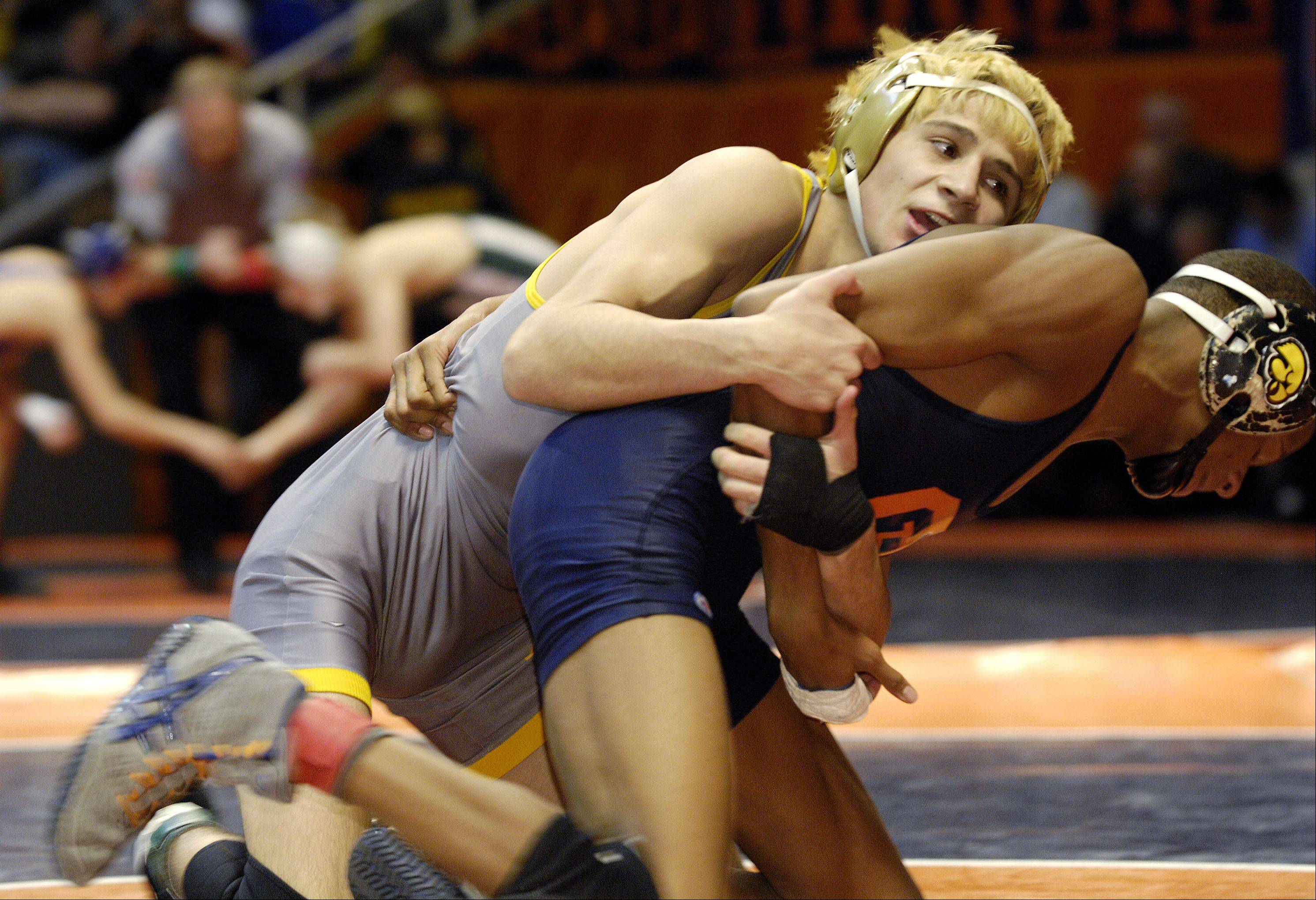 Jered Cortez of Glenbard North defeats Larry Early of Oak Park River Forest during a 3A 120-pound semifinal bout at the 2012 IHSA wrestling state finals in Champaign.