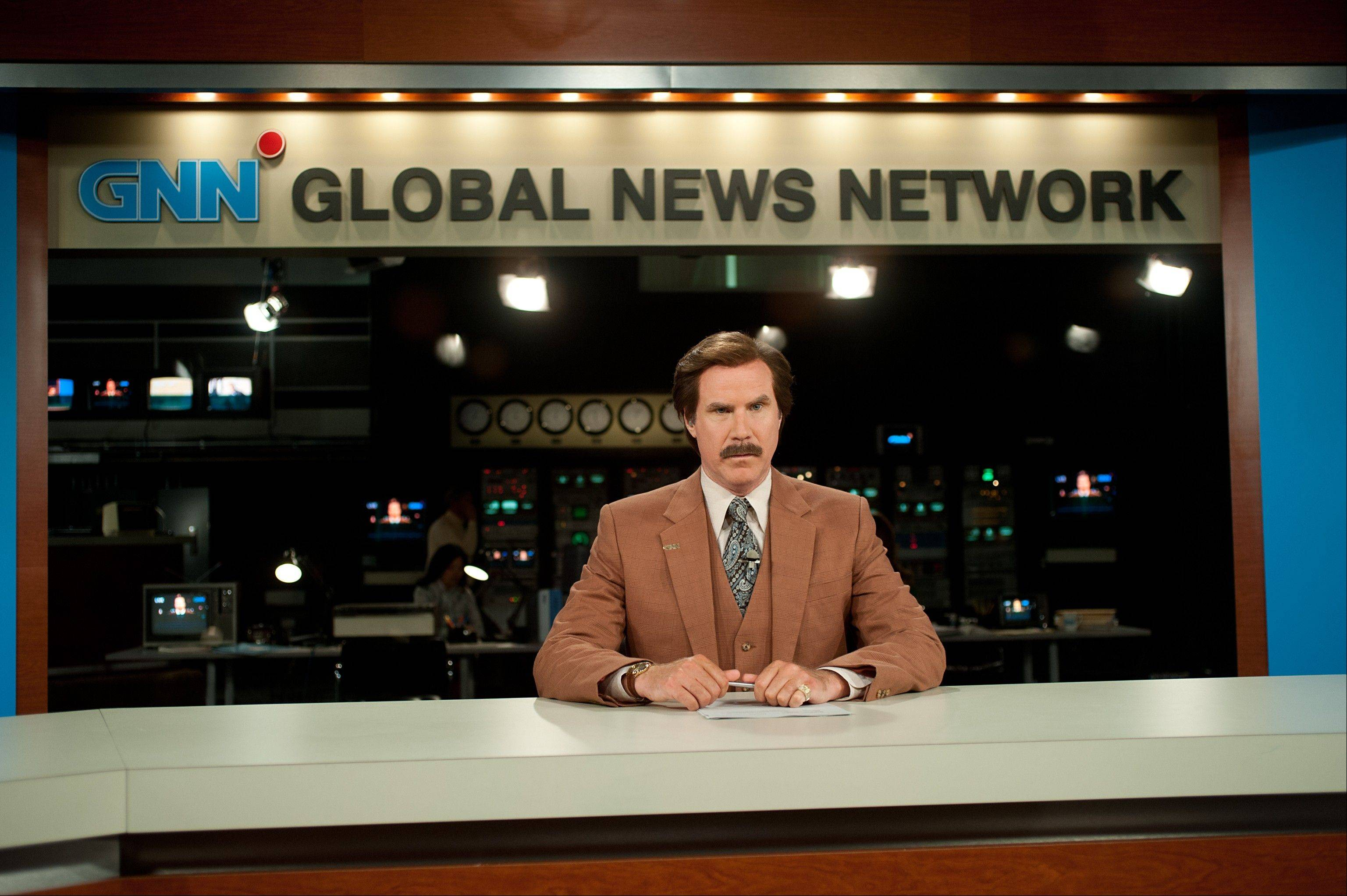 "Ron Burgundy (Will Ferrell) takes the graveyard shift at a 24-hour news station in ""Anchorman 2: The Legend Continues."""