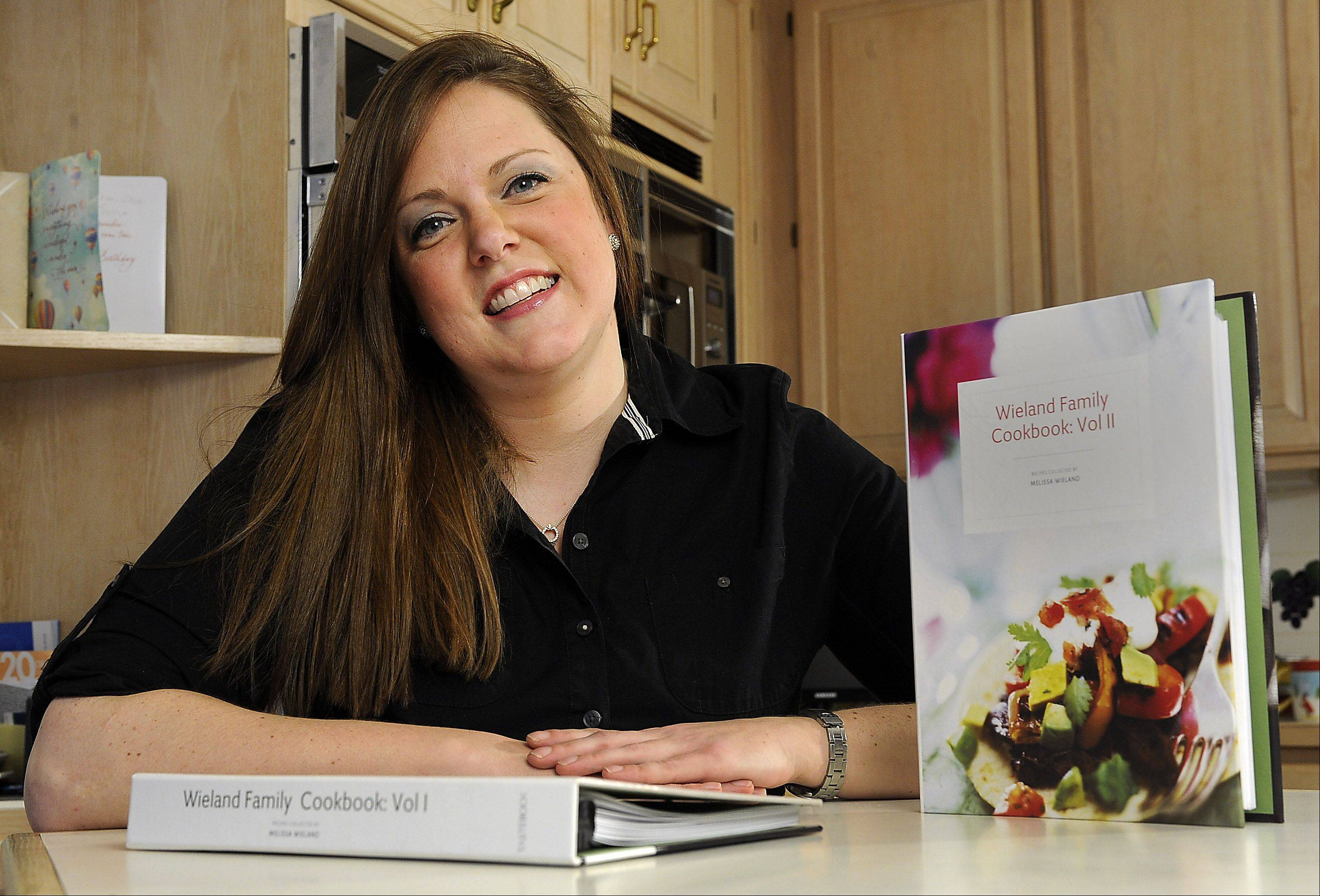 Melissa Wieland often returns to her parents' South Barrington home to cook recipes she collected for a family cookbook.