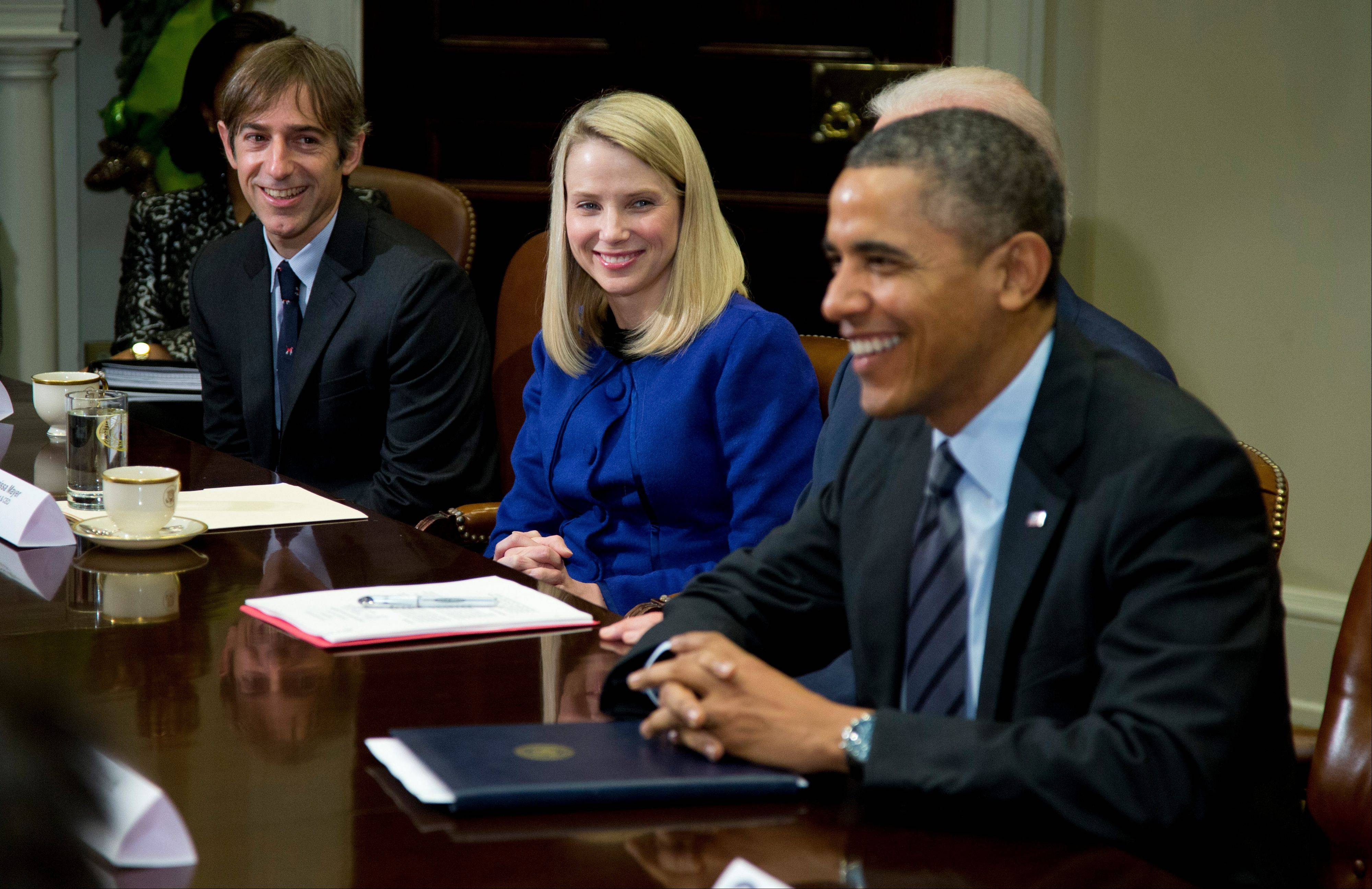 President Barack Obama meets with technology executives at the White House on Tuesday. From left are, Zynga founder Mark Pincus and Yahoo CEO Marissa Mayer.