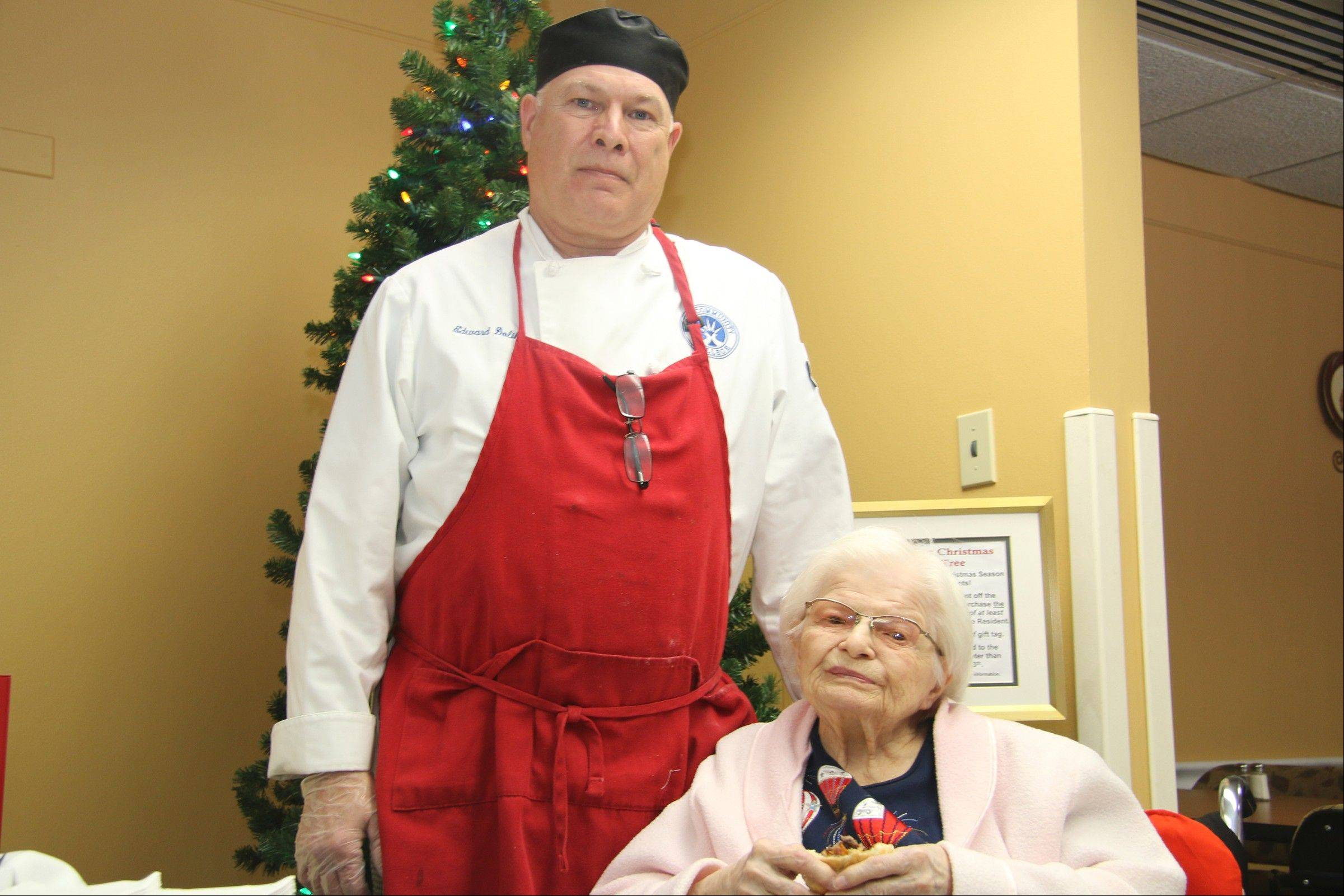 Ed Dolik, and his mother, Mildred Dolik, at the Lutheran Home on Tuesday.