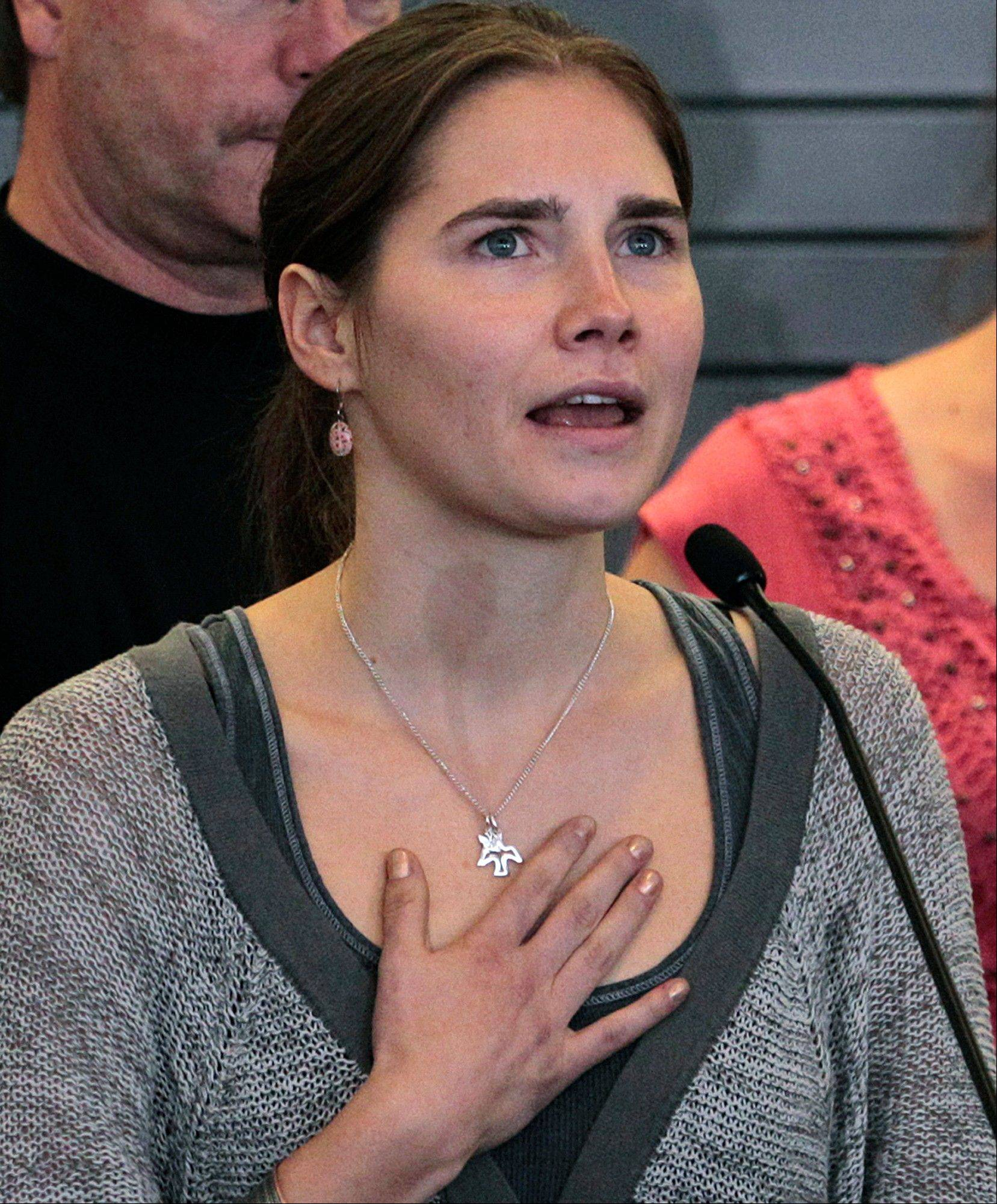 Amanda Knox declared her innocence in her roommate's 2007 murder in a highly unusual email Tuesday to the Italian court hearing the case against her. The former U.S. exchange student also said she was staying away from the trial out of fear of being wrongly convicted.