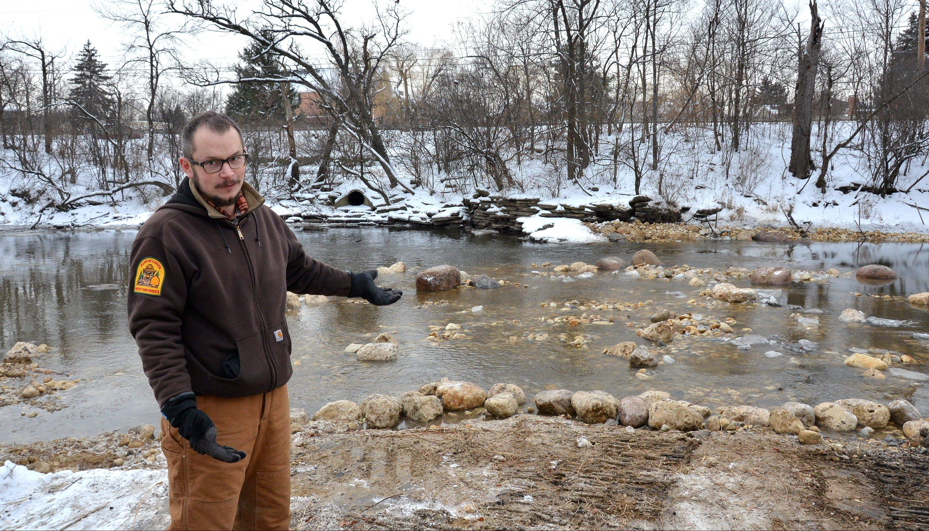 Nick Fuller, a natural resource project coordinator with the DuPage County Forest Preserve District, describes how rocks have been put into the West Branch of the DuPage River at McDowell Grove Forest Preserve near Naperville.