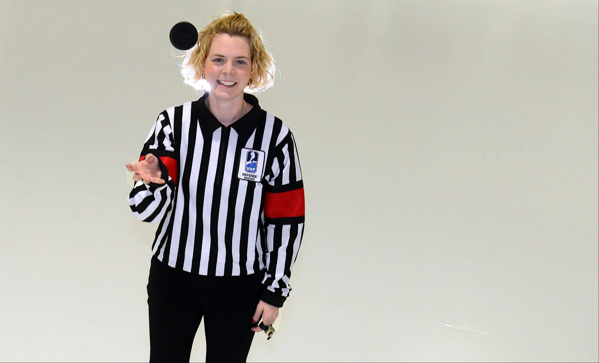 "Erin Blair, a health teacher at Lakewood School in Carpentersville, is heading to the Sochi Winter Olympics to referee women's hockey. Blair, 32, has been a referee for 14 years and started officiating in college in Ohio. In all of her years refereeing, she's only been hit in the head with a puck once. ""Hopefully, they hit us where we have padding,"" Blair quipped."