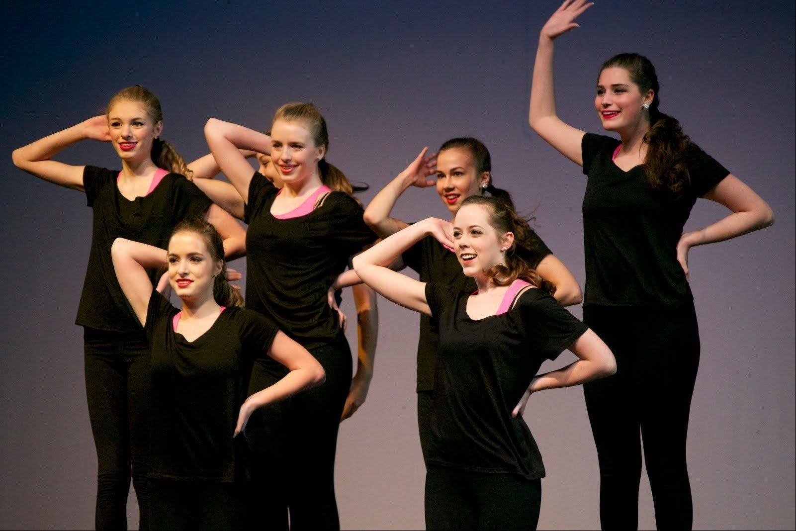 Orchesis Club members perform an original dance at Saint Viator's Winter Fine Arts Show.