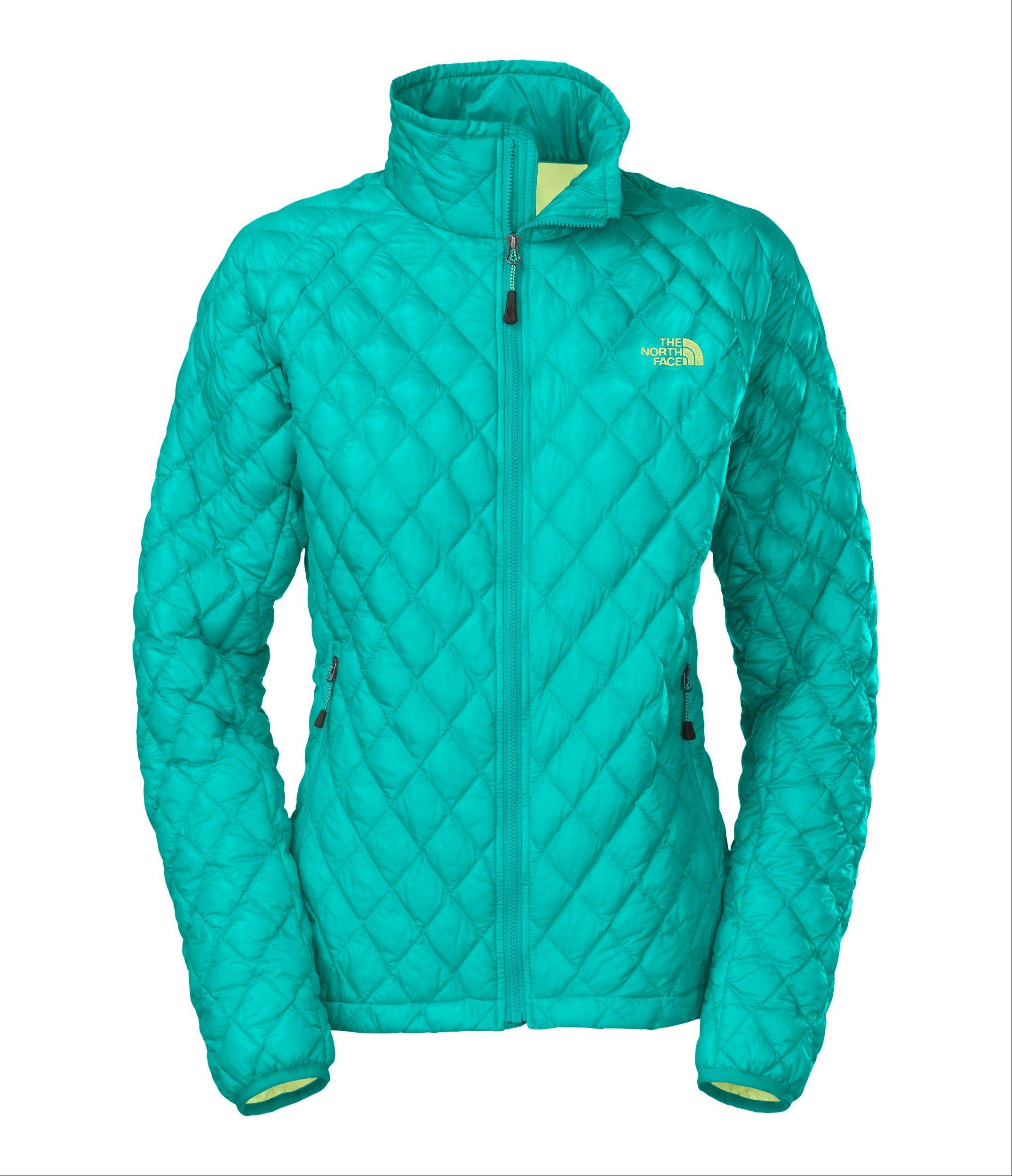 A women's ThermoBall full zip jacket now comes in borealis blue. Bright is the new black when it comes to colors and styles for snow bunnies to look their best on the slopes.