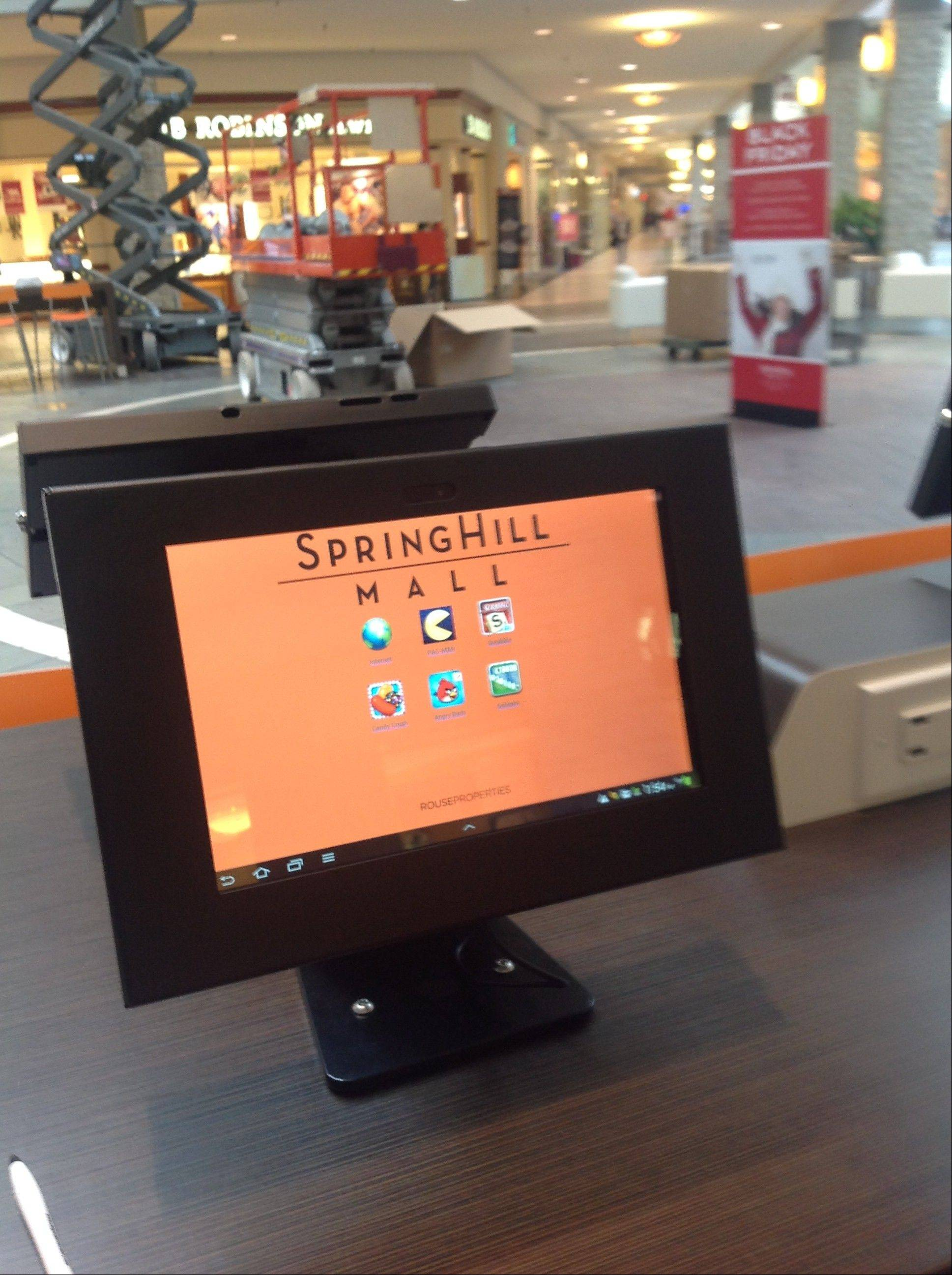 Spring Hill Mall will soon house a Nestl� Toll House Caf�. It will serve gourmet coffee, fresh baked cookies, pastries and premium sandwiches and paninis from the mall's center court. The center court already offers free tablets, like the one shown here. The caf� is expected to open in January.