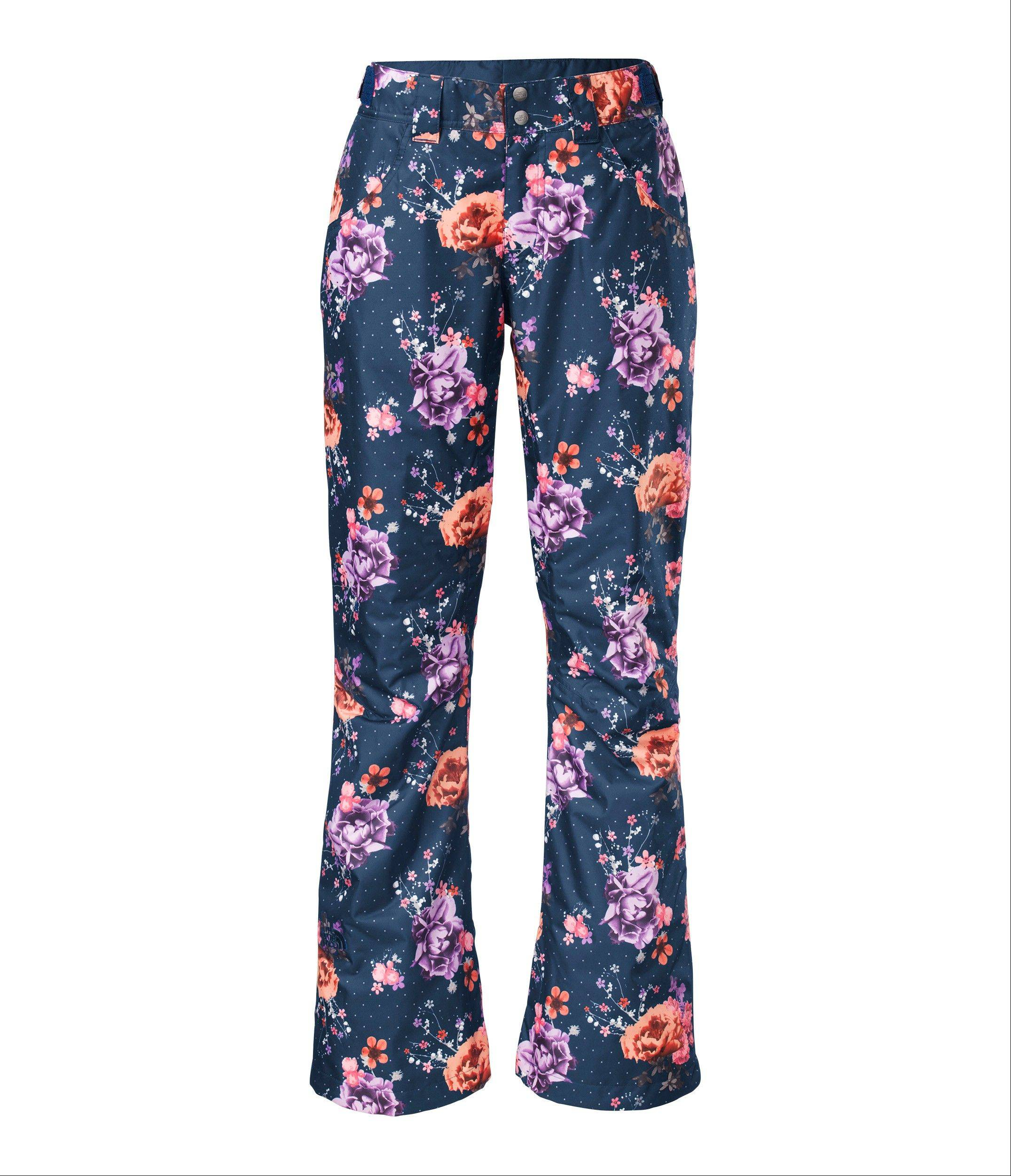 The North Face is selling women's farrows novelty pants in estate blue floral this season.