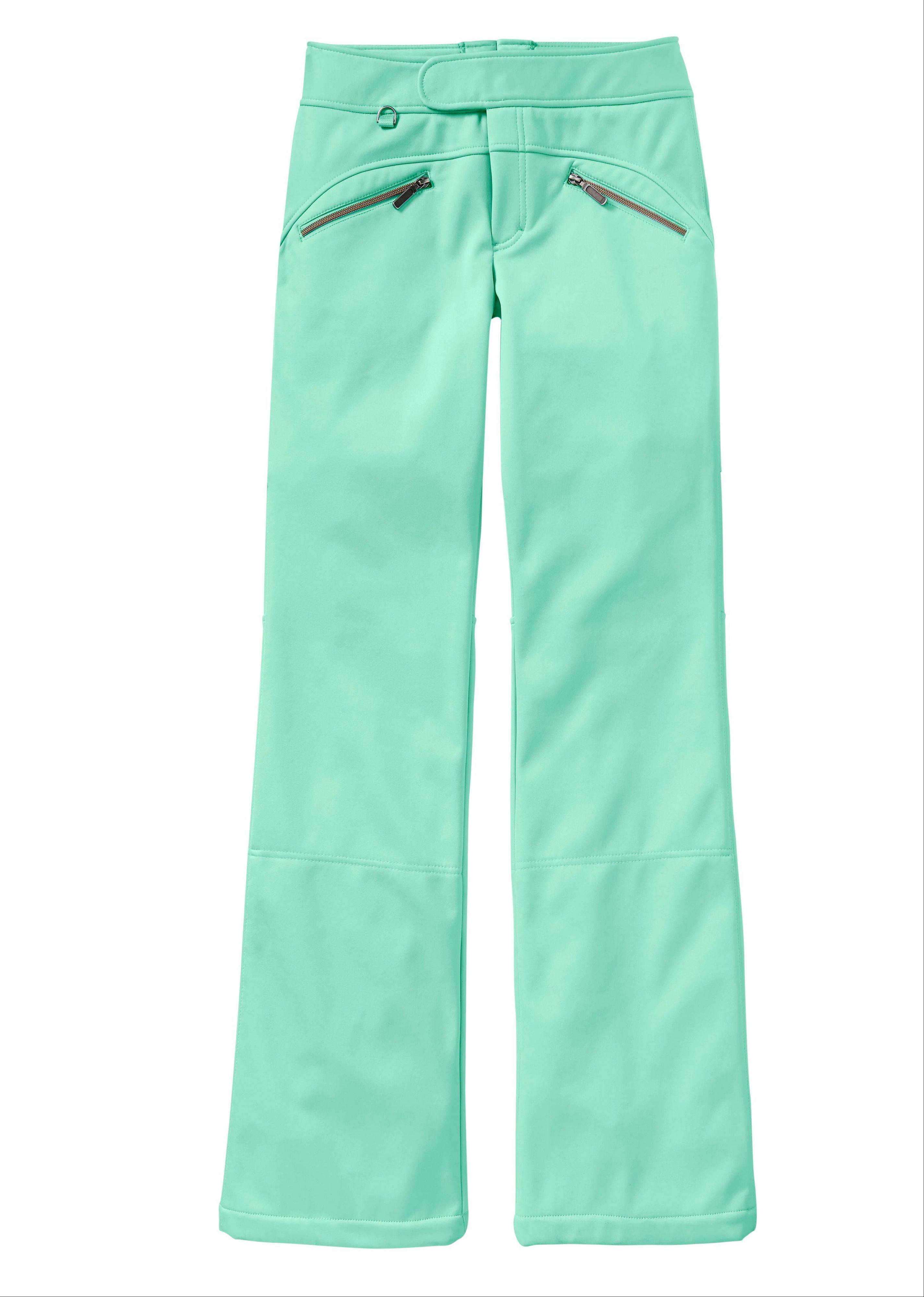 The mint green Fall Line Ski Pant from Athleta is an example of winter-sport outerwear in nontraditional, bright colors. Fueling the trend are safety and fashion factors, but also a sense of fun, say experts.