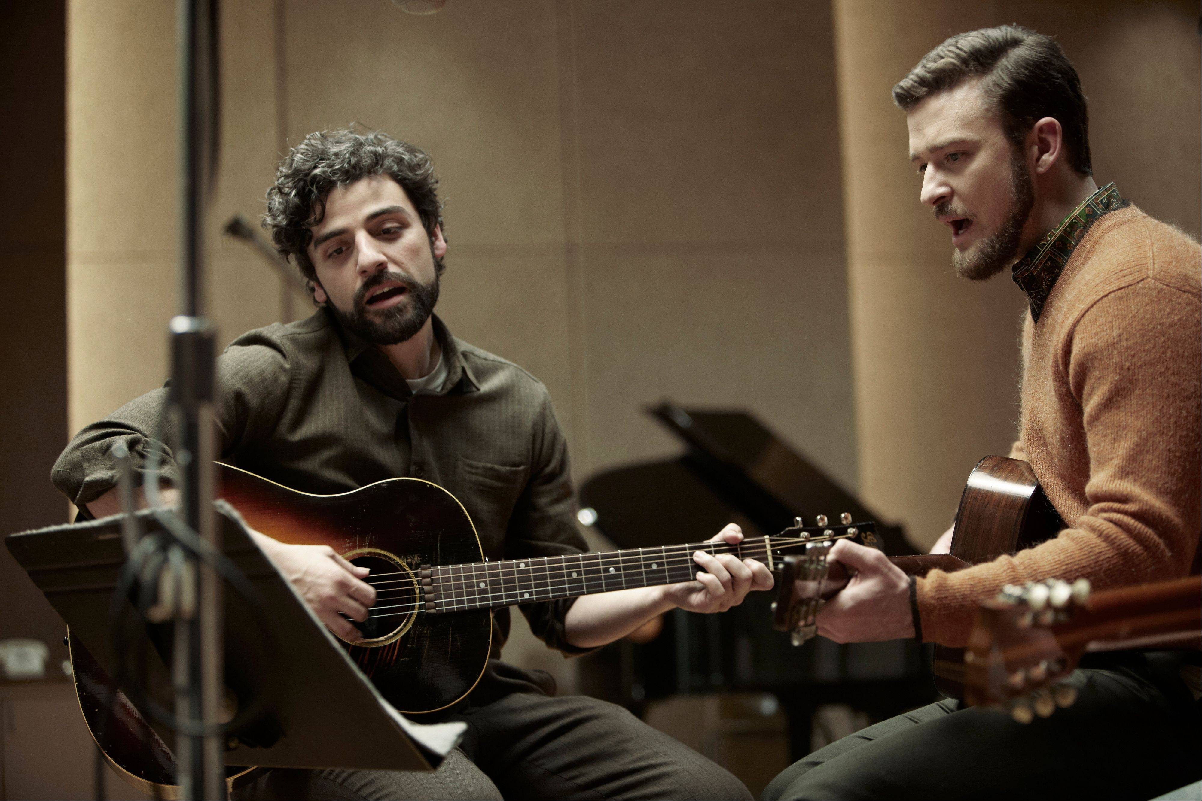 "Llewyn Davis (Oscar Isaac), left, and Jim (Justin Timberlake) take to the recording studio in the Coen brothers' ""Inside Llewyn Davis."""