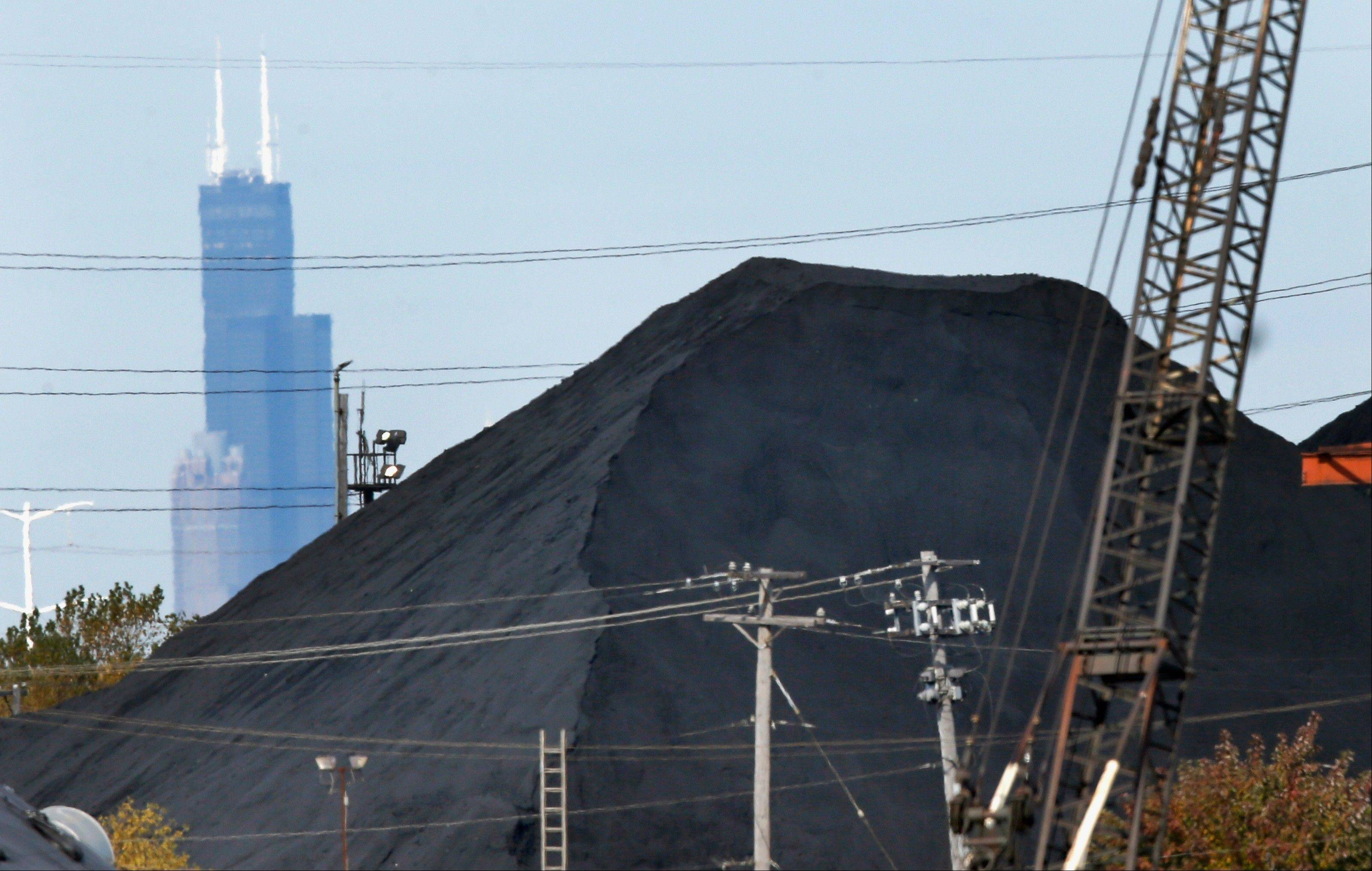 A huge mound of petroleum coke, or petcoke, sits in a residential area on Chicago�s Southeast Side.