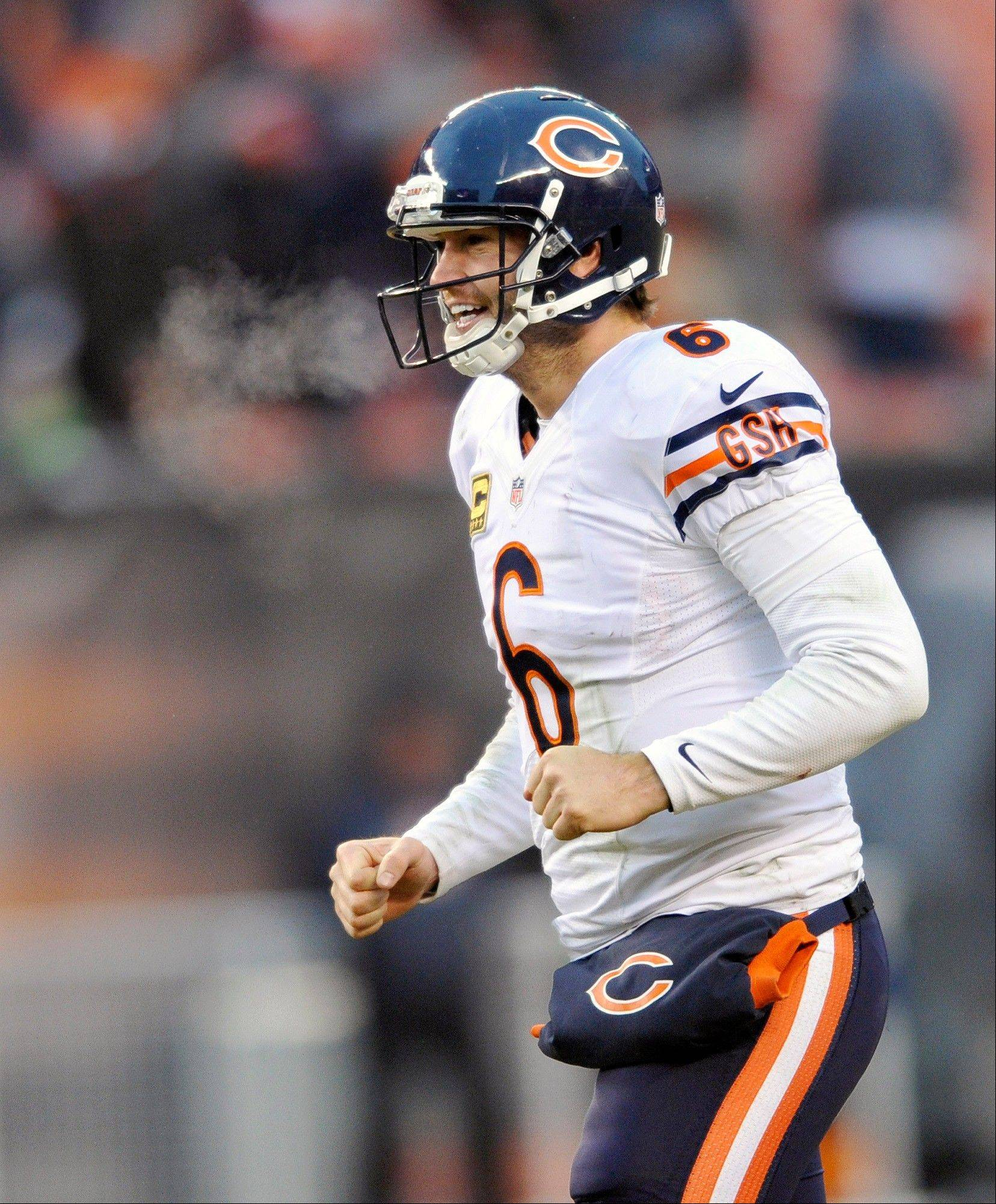 Chicago Bears quarterback Jay Cutler celebrates a touchdown by Bears running back Michael Bush in the fourth quarter of an NFL football game against the Cleveland Browns on Sunday, Dec. 15, 2013, in Cleveland. Chicago won 38-31. (AP Photo/David Richard)