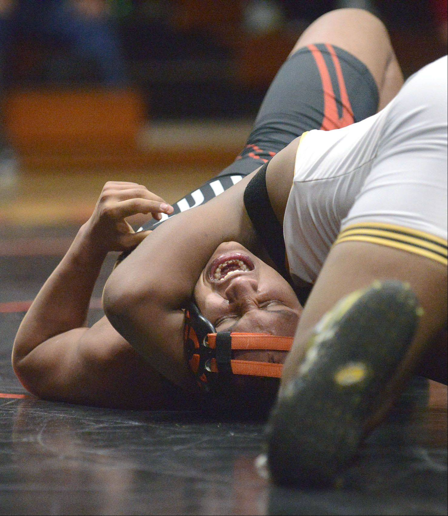 St. Charles East's Ray David Cuautle is trapped in a headlock by Metea Valley's Dylan Ervin in the 195 pound match on Thursday, December 19. Ervin took the win.