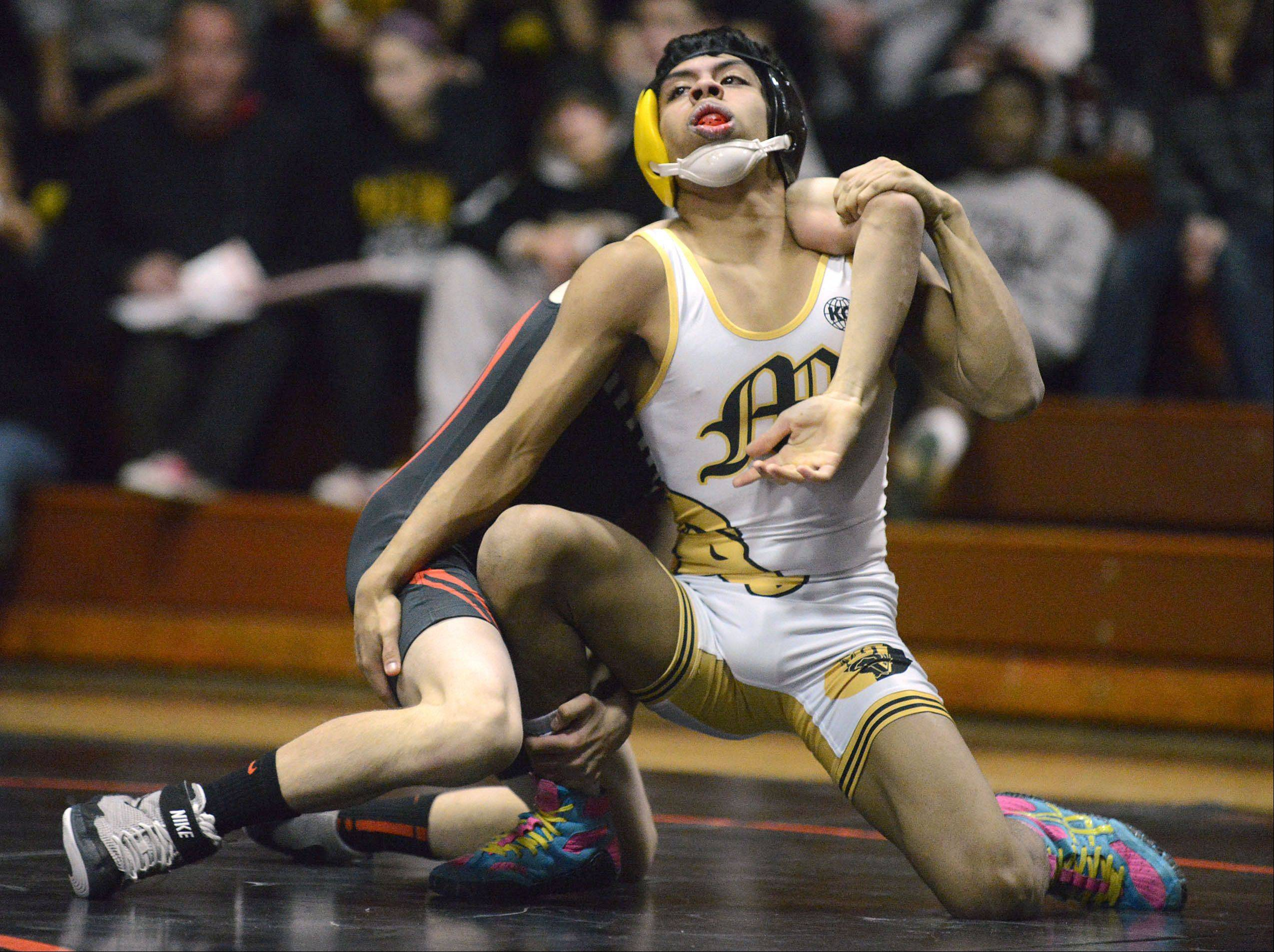St. Charles East's Anthony Rubino takes the win in the 113 pound match vs. Metea Valley's Axl Ariza on Thursday, December 19.