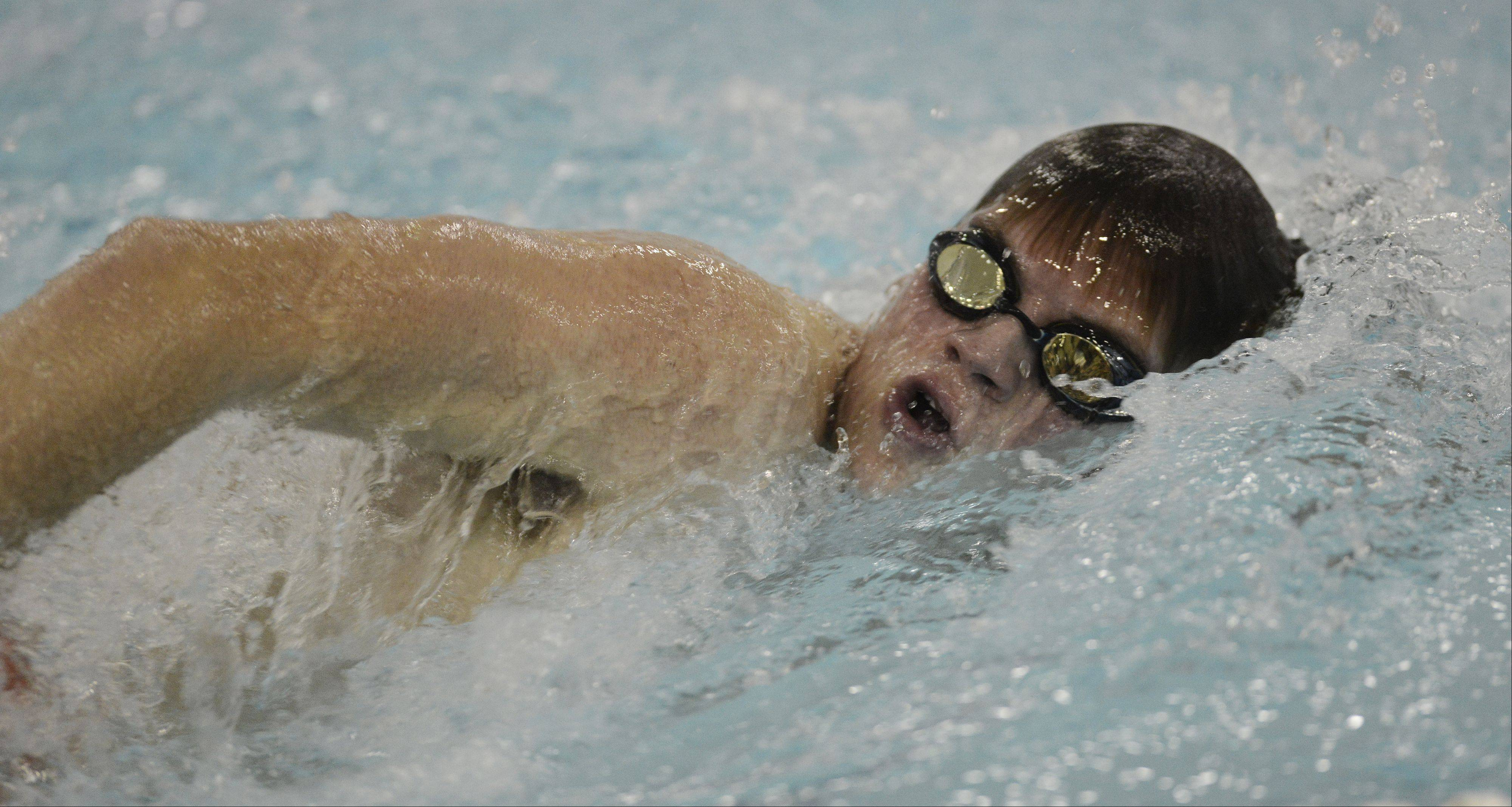 Hersey's David Kuntz swims the 200-yard freestyle during Thursday's meet with Wheeling at Olympic Pool in Arlington Heights.