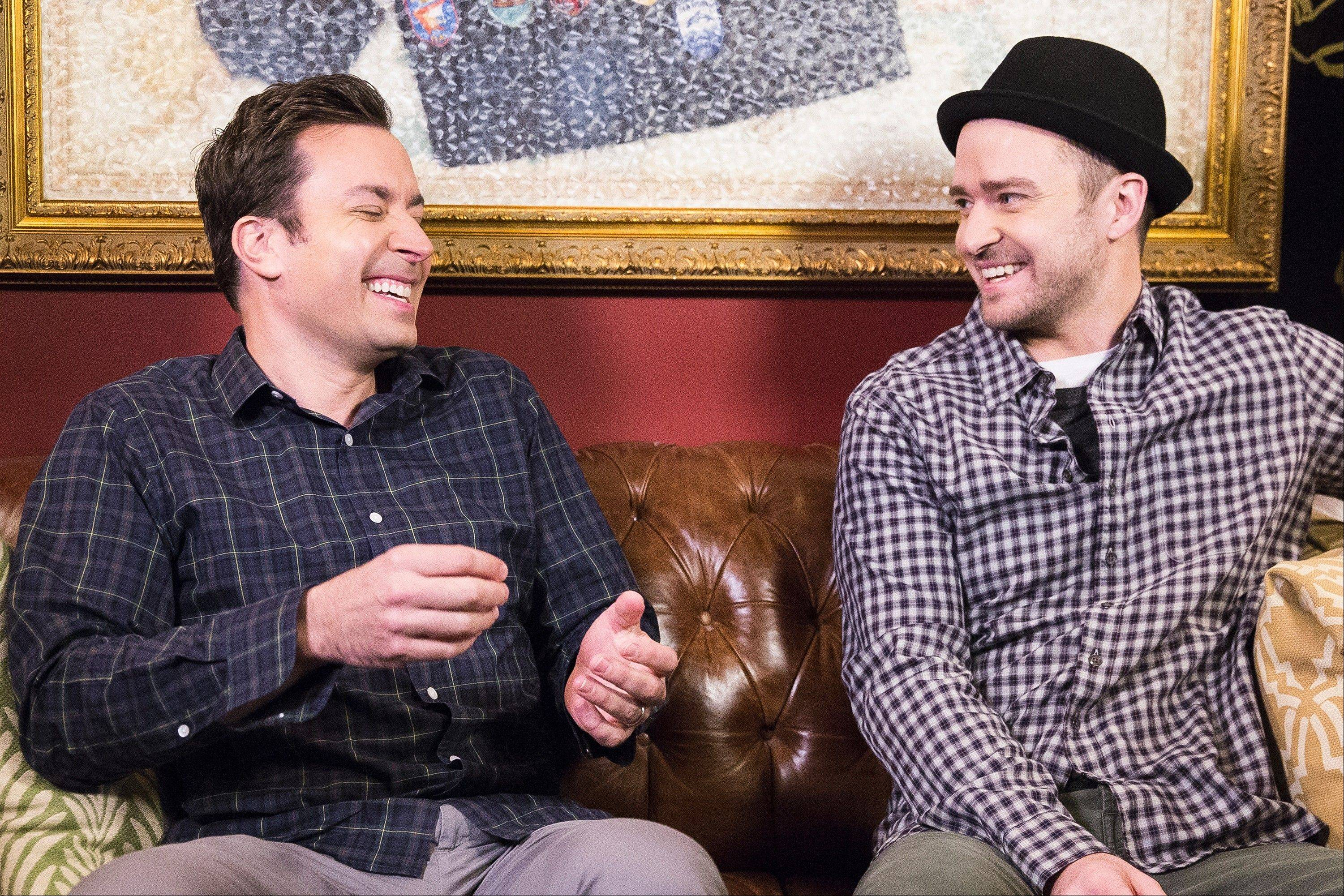 Jimmy Fallon, left, and Justin Timberlake will return this weekend to �Saturday Night Live.�